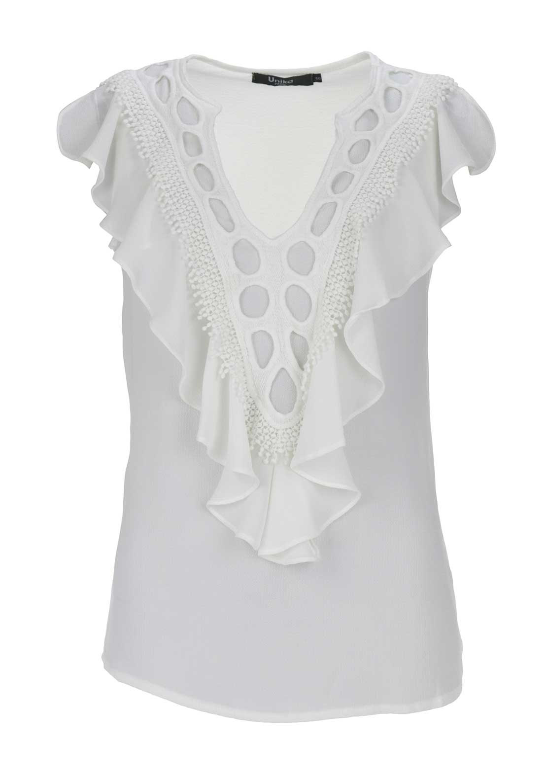 Boutique Sleeveless Crochet Frill Top, Cream