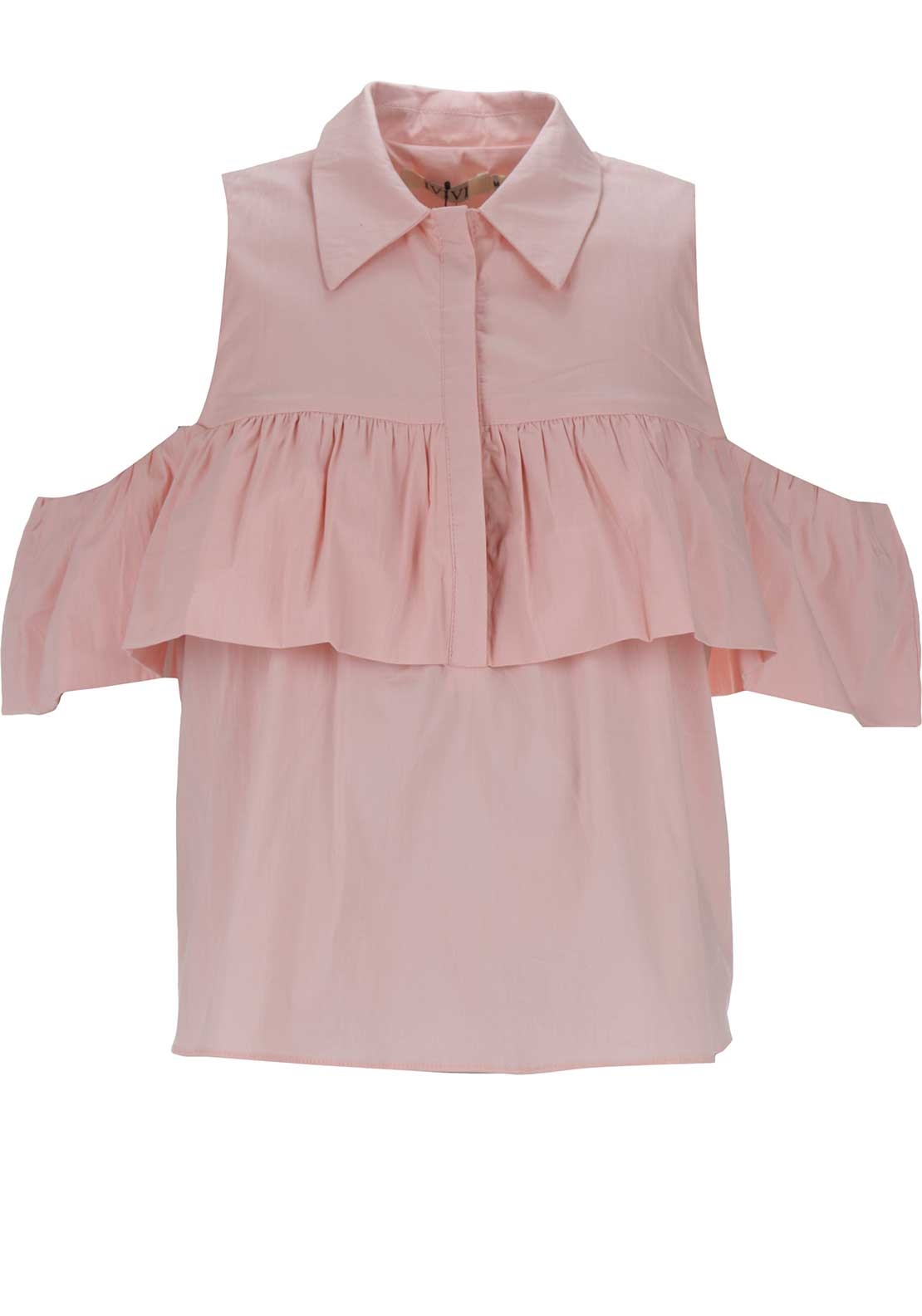 Boutique Ruffle Panel Shirt, Pink