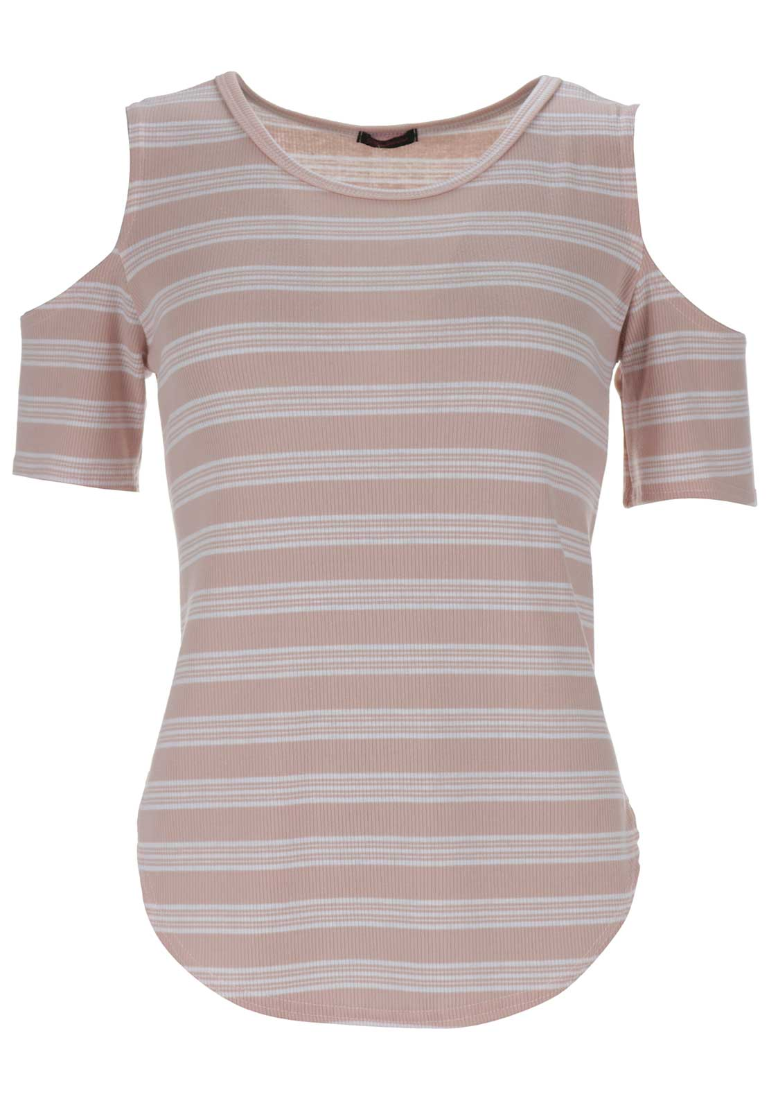 Boutique Striped Cold Shoulder Top, Peach