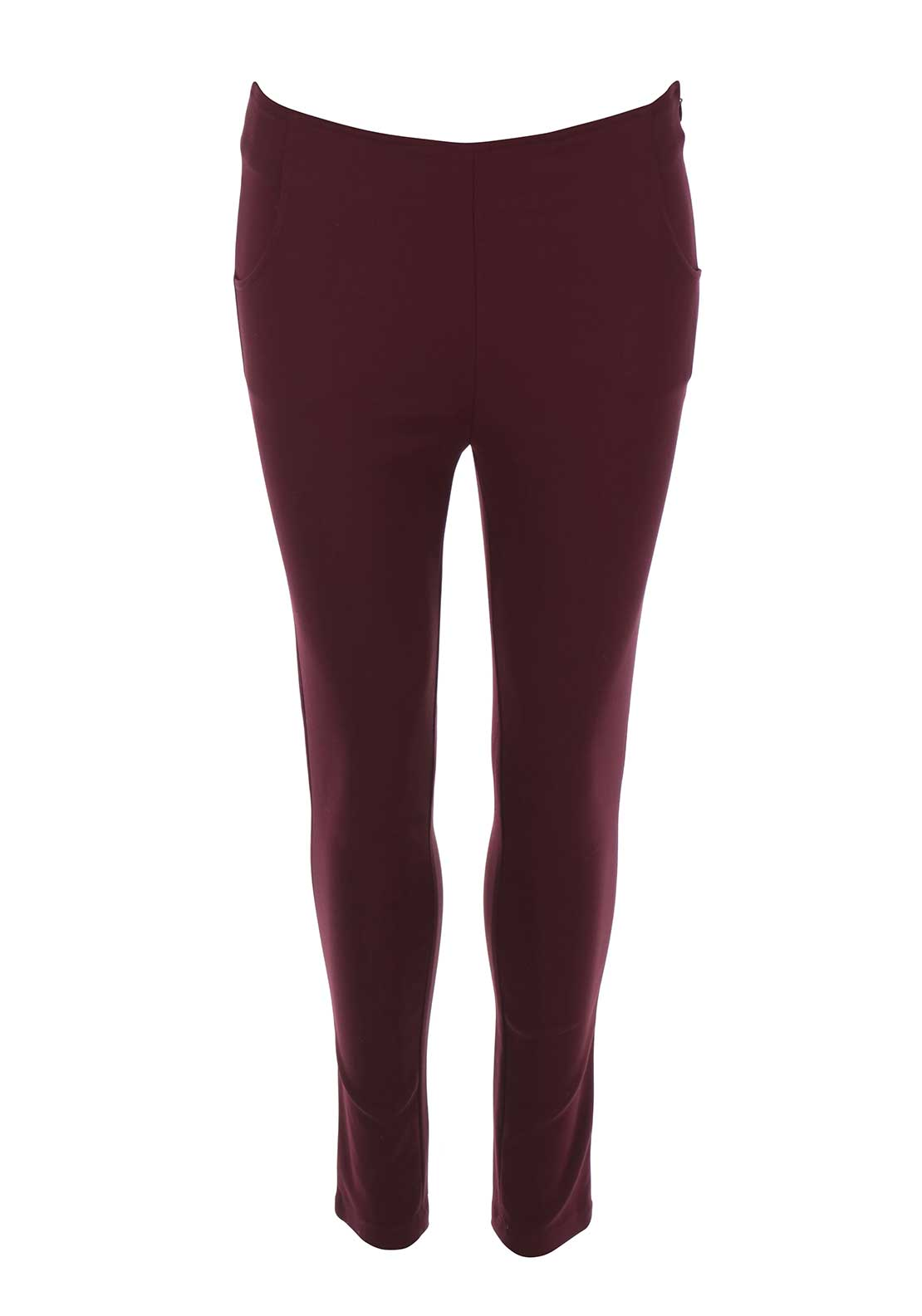 FRNCH High Waist Skinny 7/8 Trousers, Wine