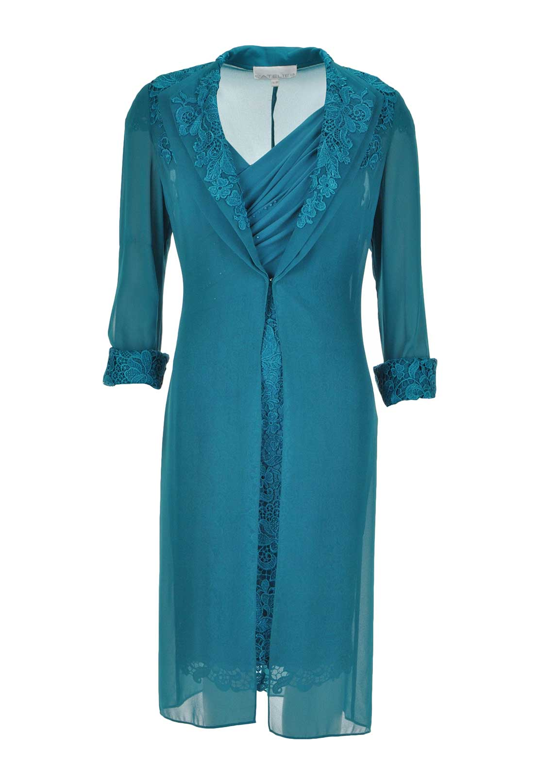 L'Atelier Dress & Chiffon Coat, Teal Green