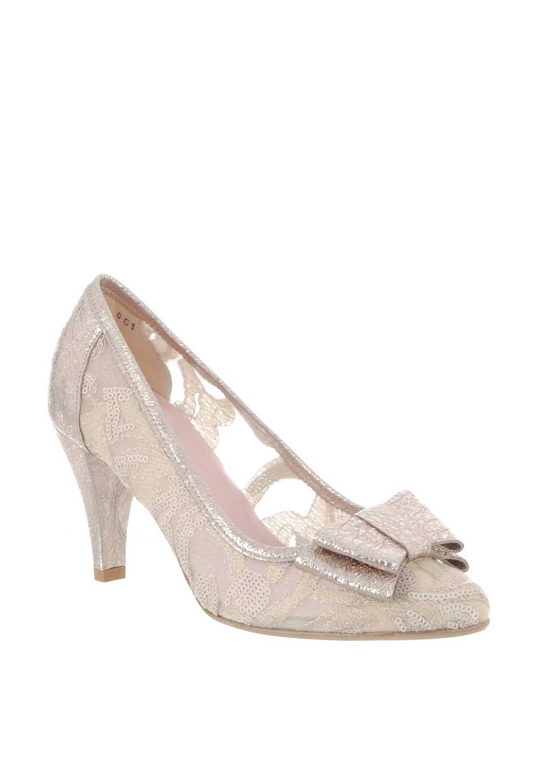 Le Babe Mesh Metallic Heeled Court Shoes, Gold