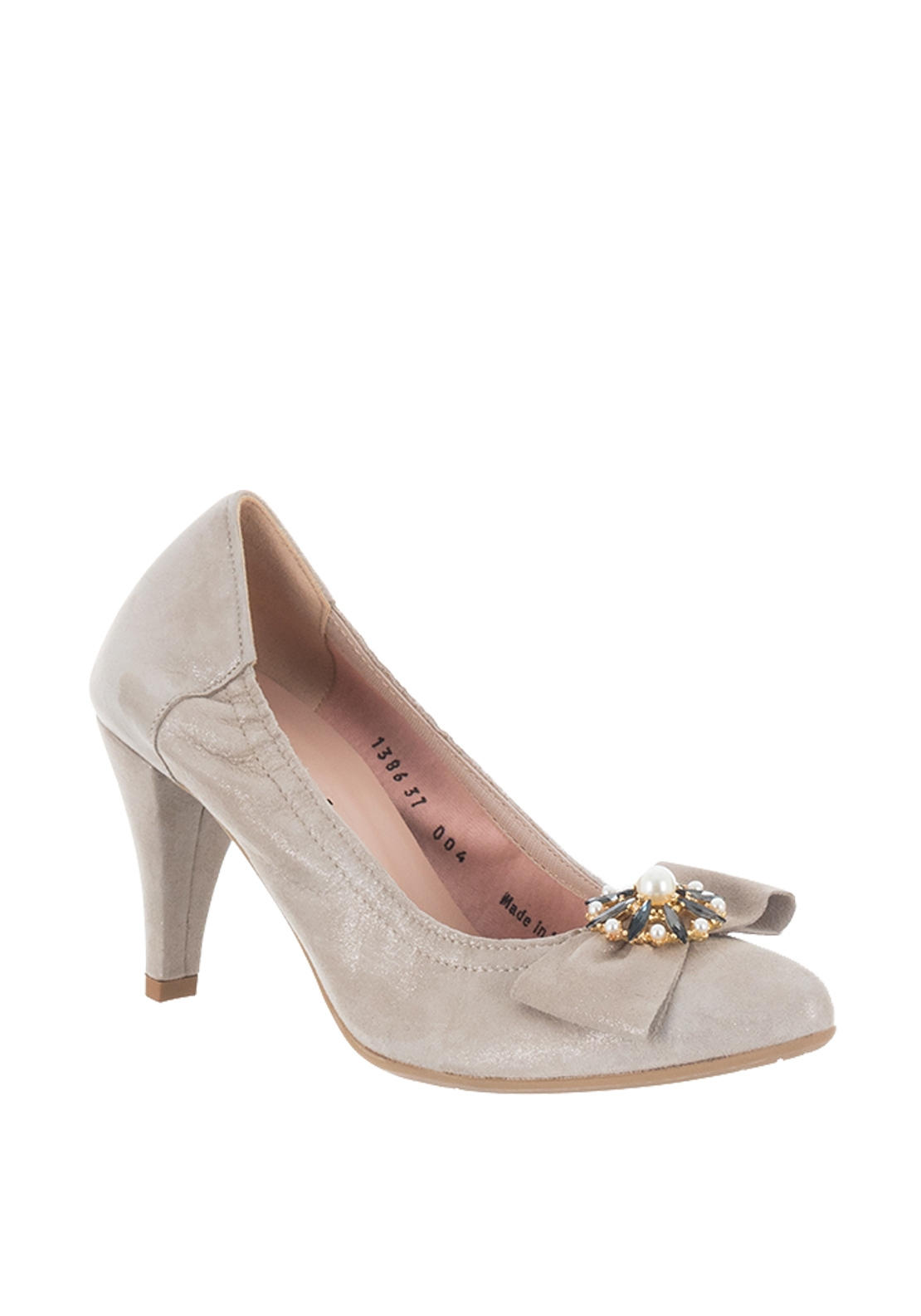 Le Babe Suede Shimmer Pearl Bow Court Shoes, Champagne