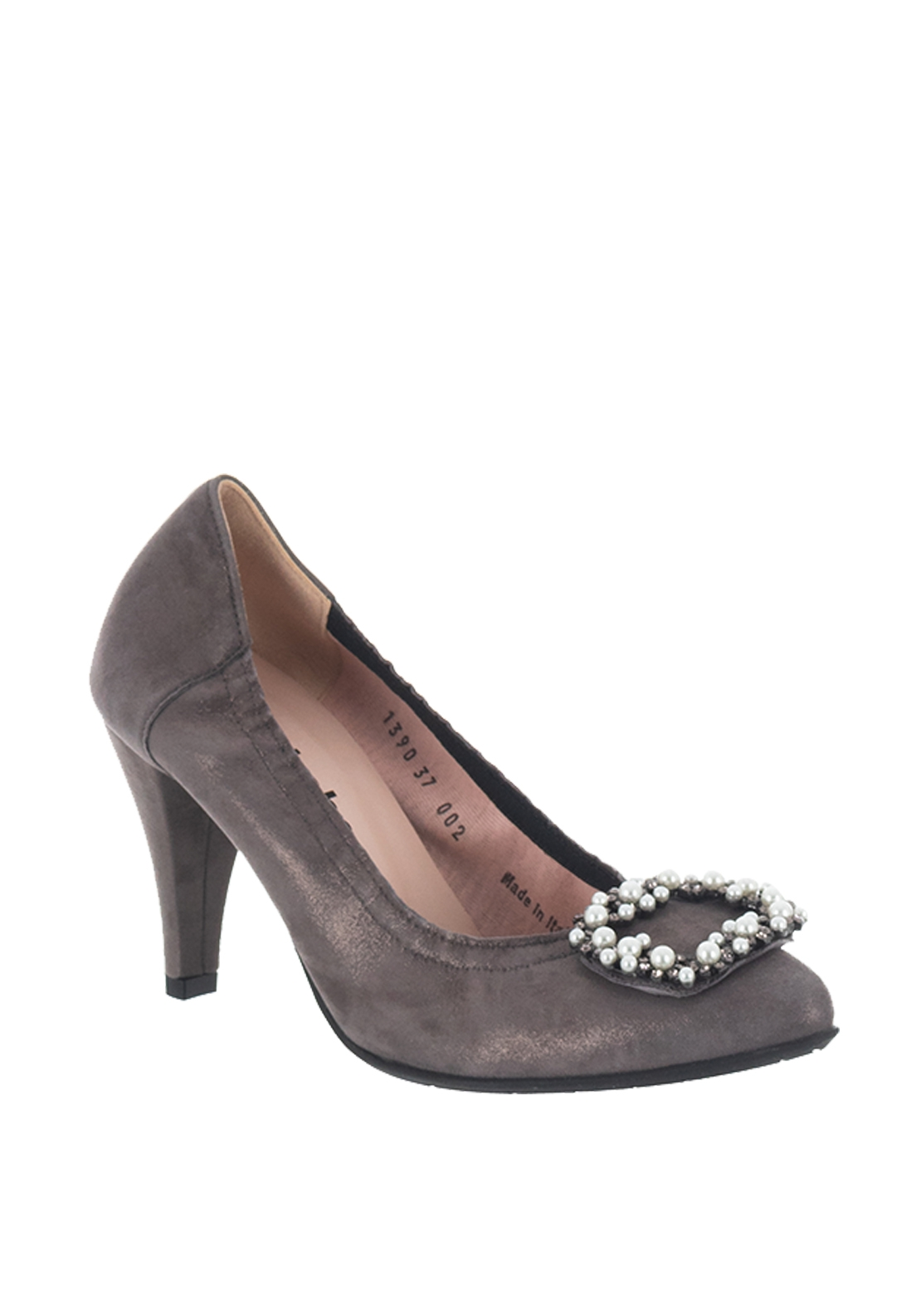 Le Babe Suede Shimmer Brooch High Heel Shoes, Grey