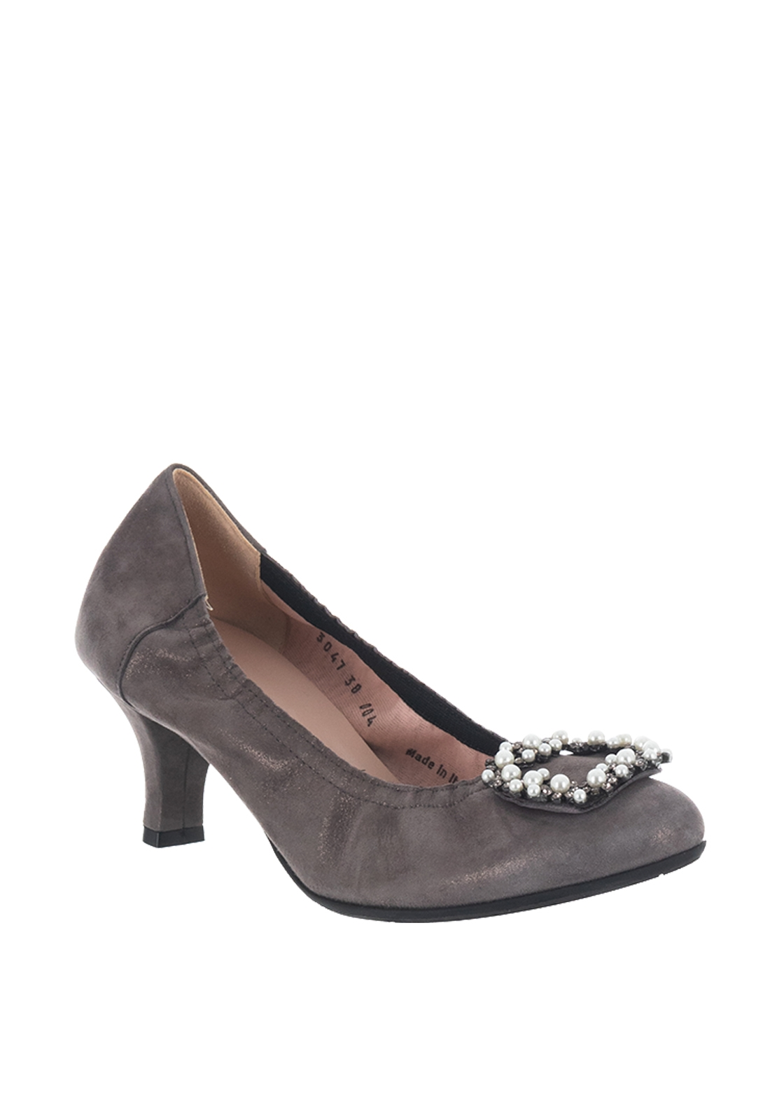 Le Babe Suede Shimmer Brooch Mid Heel Shoes, Grey