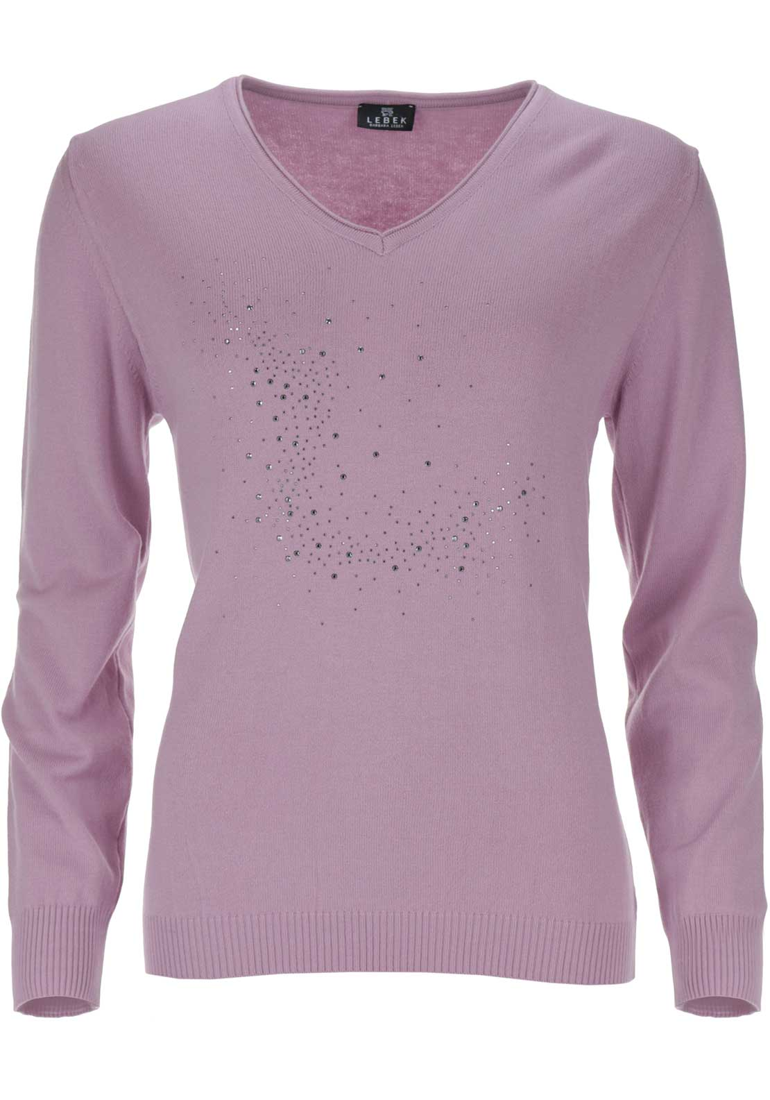 Lebek Embellished V-Neck Sweater Jumper, Pink
