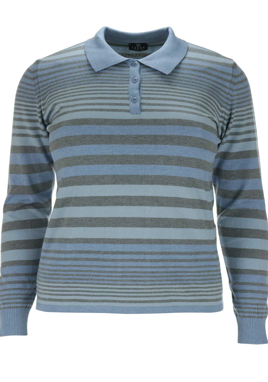 Lebek Striped Fine Knit Polo Shirt, Blue and Grey