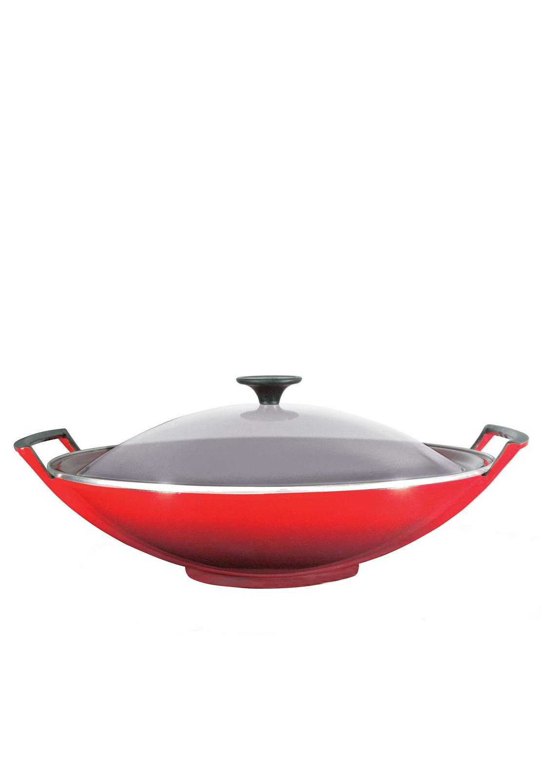 Le Creuset Cast Iron 36cm Wok and Glass Lid, Cerise