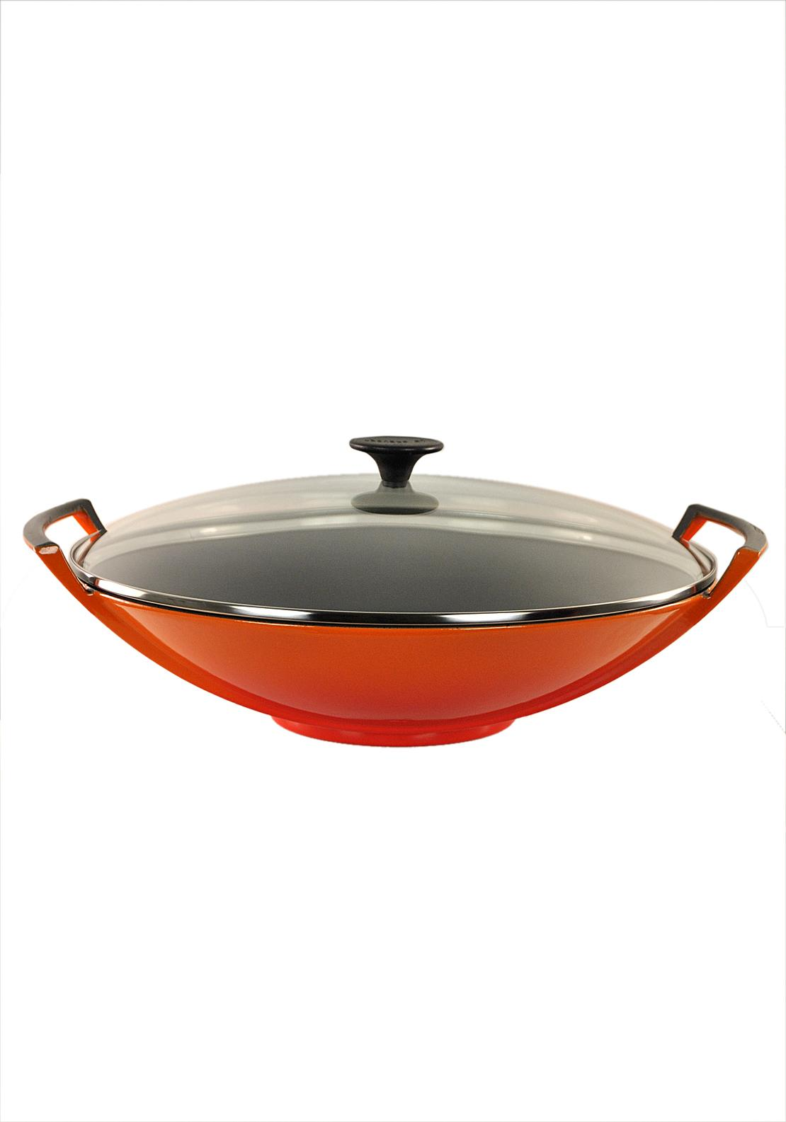 Le Creuset Cast Iron 36cm Wok and Glass Lid, Volcanic