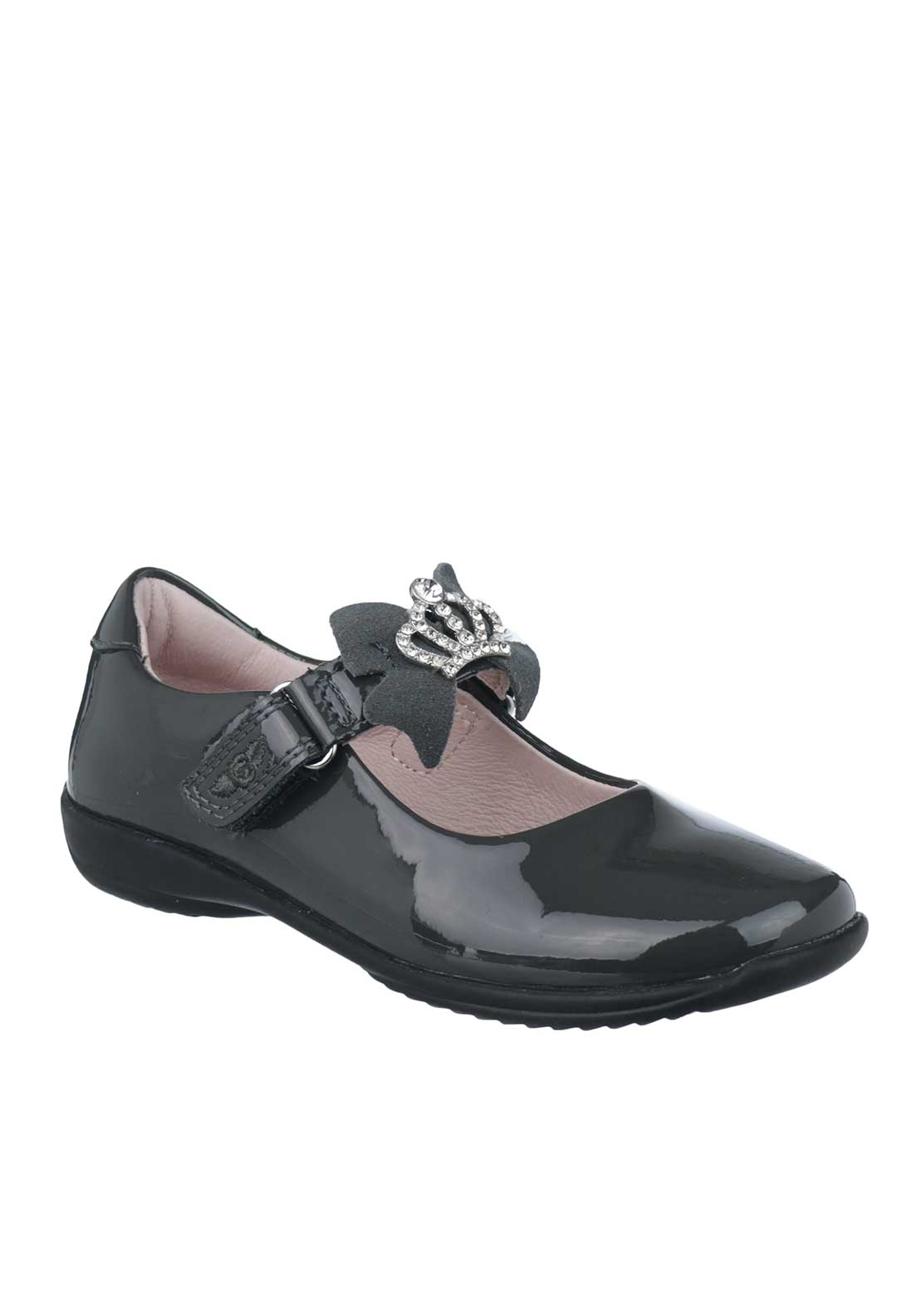 Lelli Kelly Girls Patent Leather Interchangeable Strap School Shoes, Grey