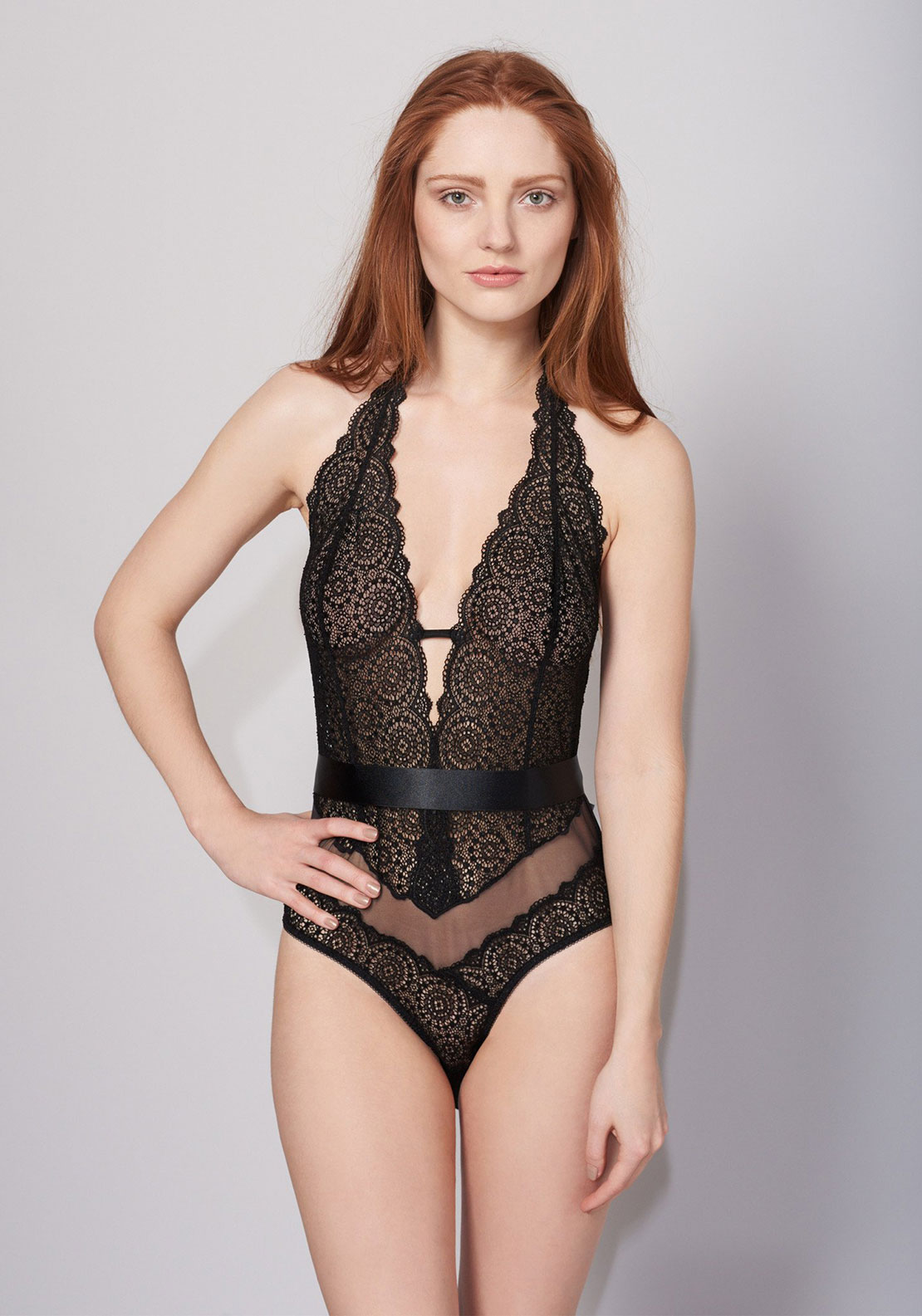 Lepel Sophia Lace Bodysuit, Black