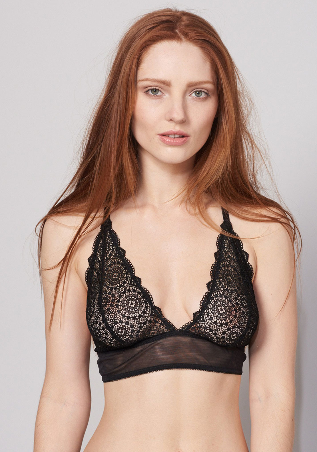 Lepel Sophia Lace Triangle Bra, Black