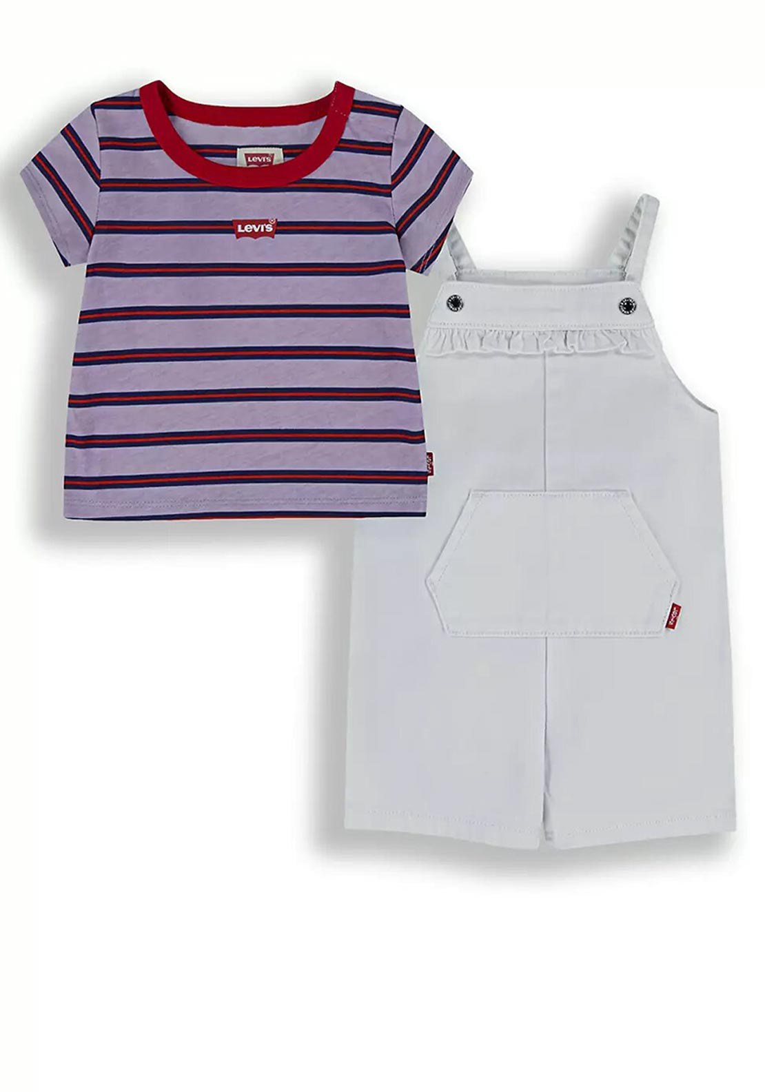 Levis Baby Girls 2 Piece Dungarees and T-Shirt, White Multi