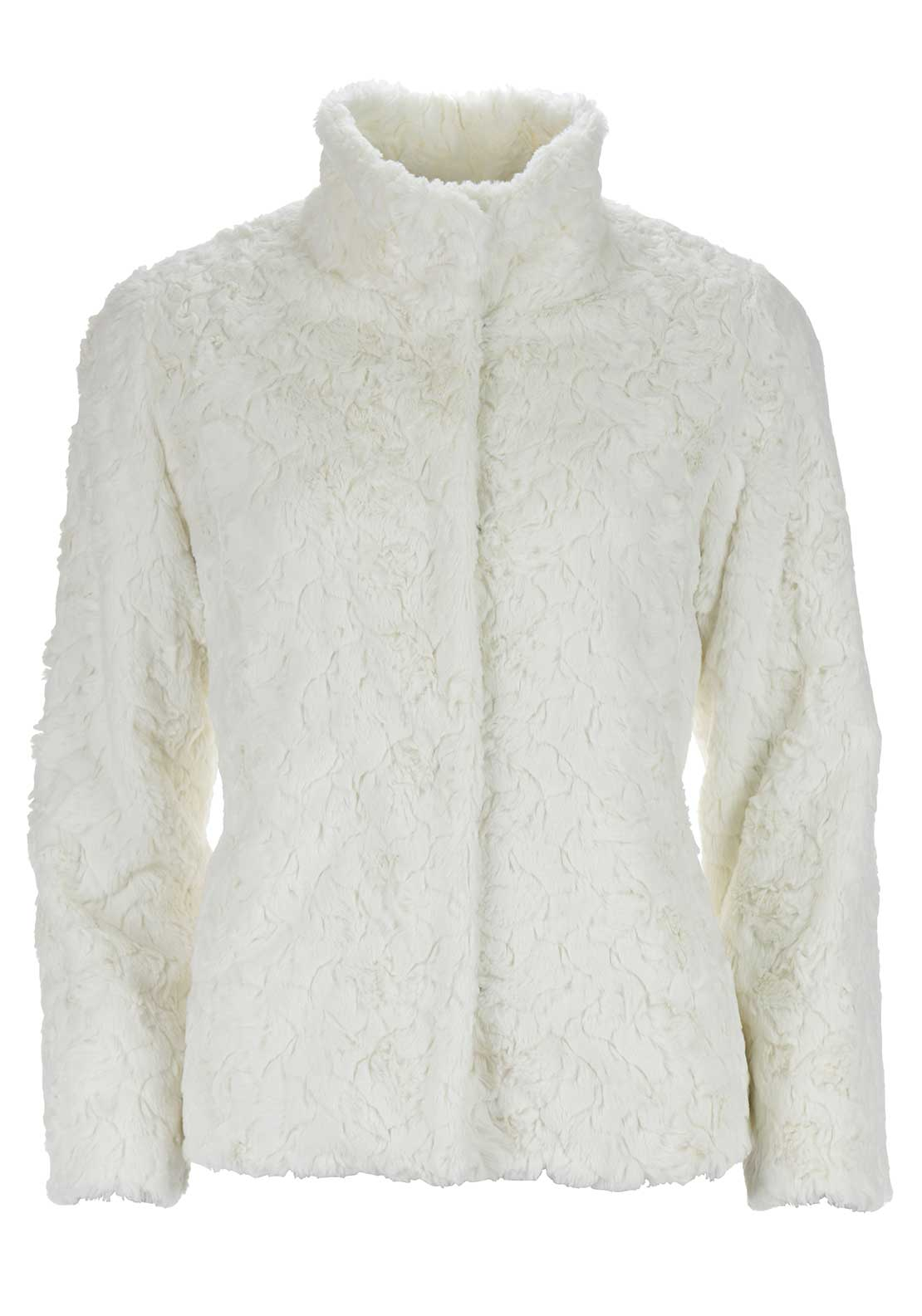 Libra Textured Faux Fur Jacket, Cream