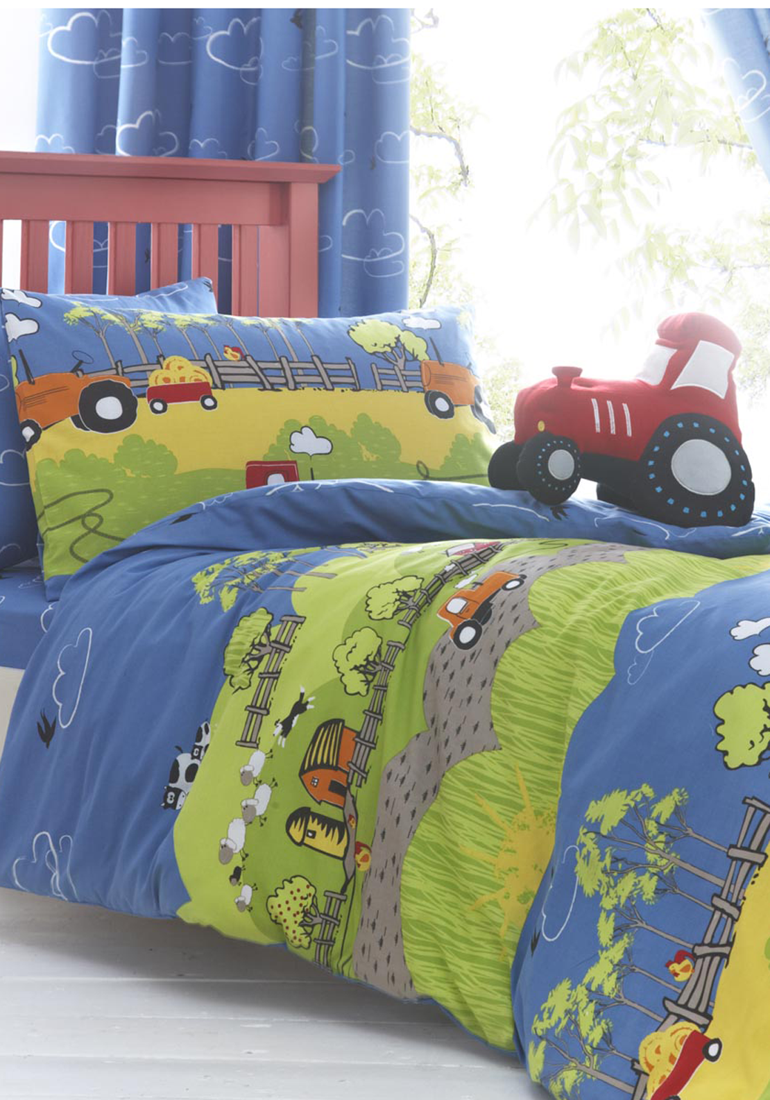 Just Kidding Farm Print Double Duvet Cover and Pillowcase Set, Blue