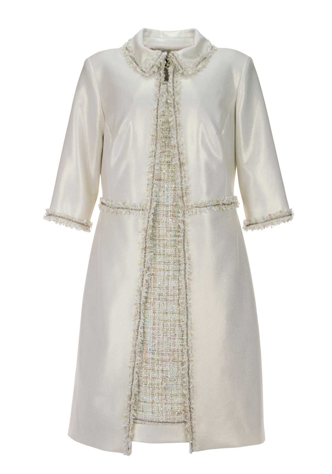 Linea Raffaelli Boucle Dress & Metallic Sheen Coat, Cream Multi