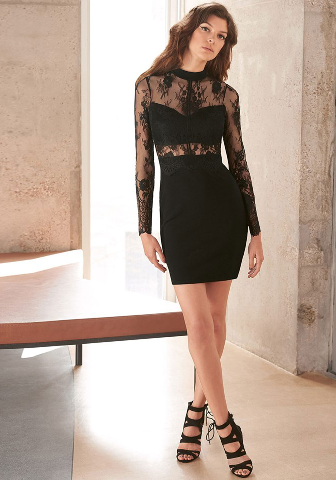 Lipsy Lace Long Sleeve Dress, Black