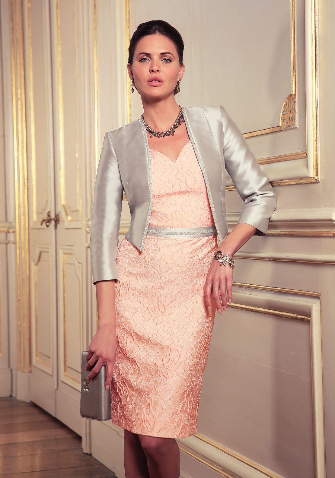 Linea Raffaelli Soft Pink Dress with Detail Belt & Silver Bolero