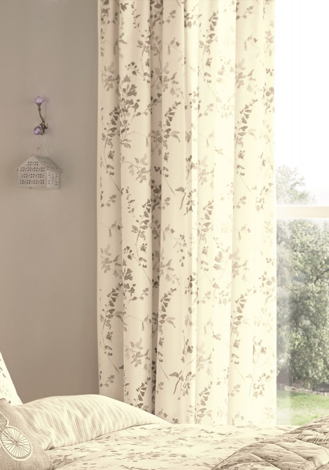 Dreams & Drapes Lila Readymade Lined Curtains, Natural 66 x 72cm