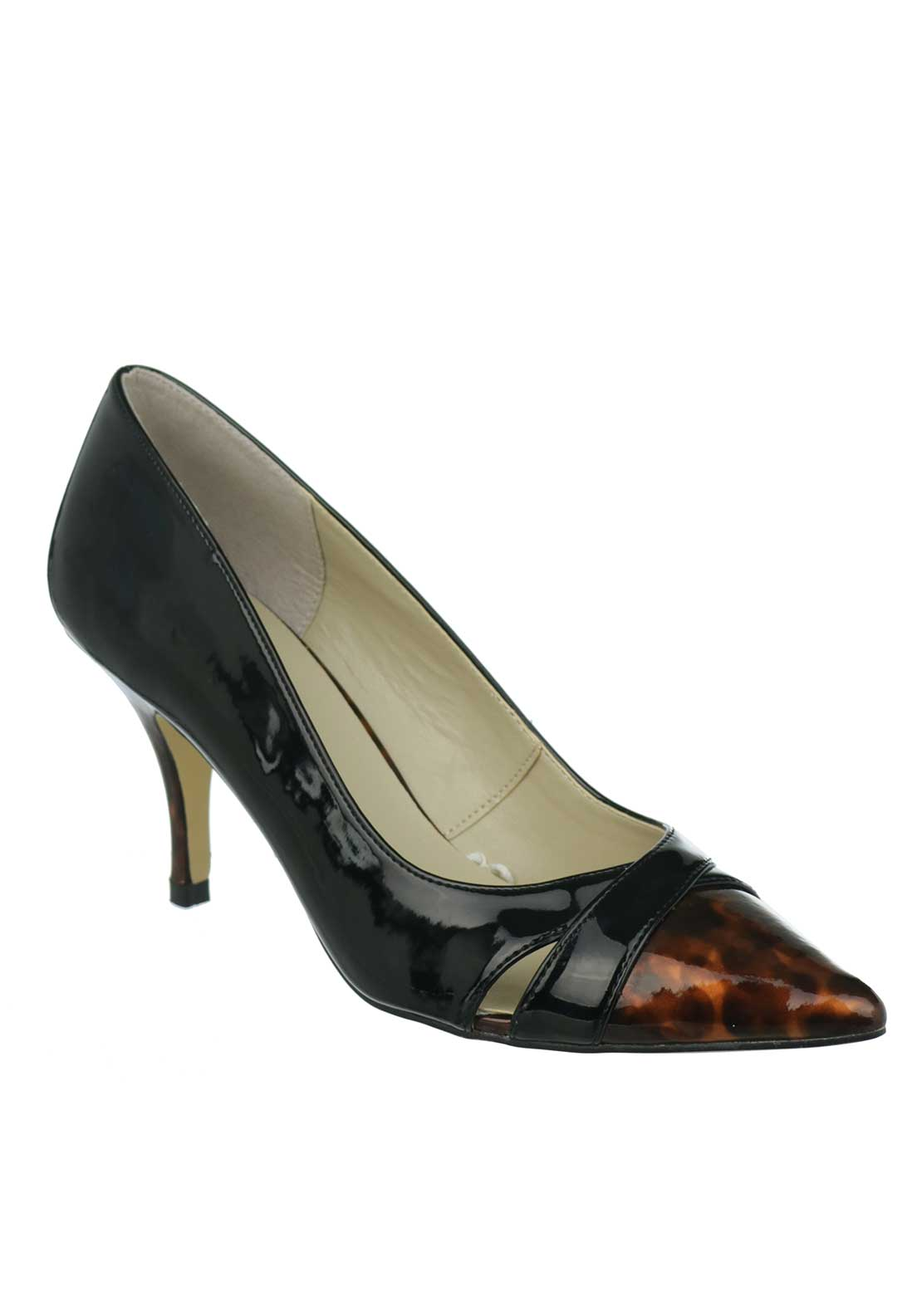Lotus Celosia Tortoise Print Trim Pointed Toe Mid Heel Shoe, Black Patent