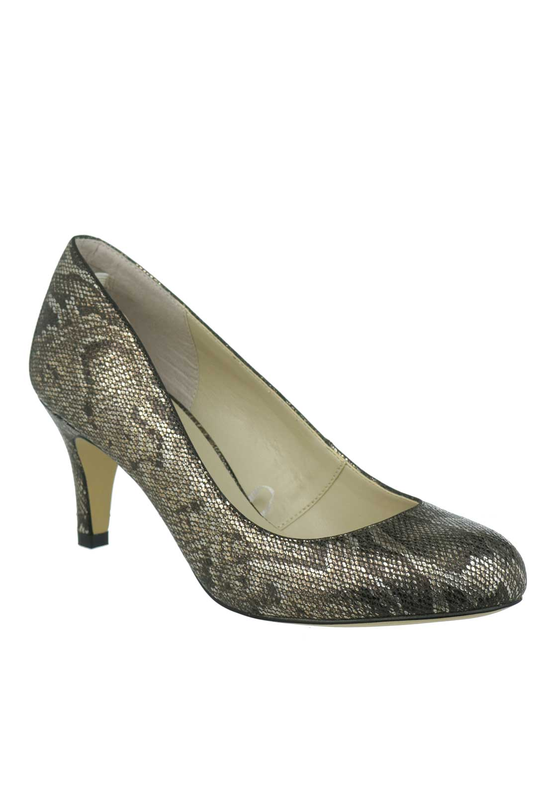 Lotus Colombina Metallic Snakeskin Round Toe Mid Heel Shoe, Bronze