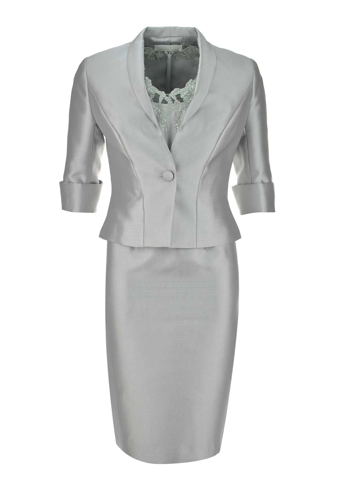 L'Atelier Occasion Wear Embellished Illusion Neckline Dress and Jacket, Silver