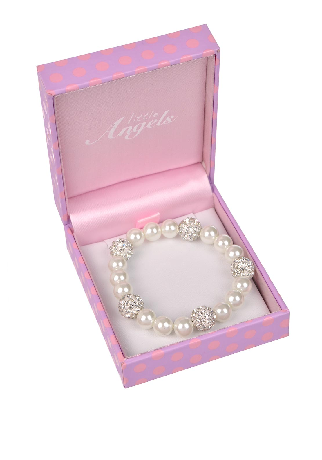 Little Angels First Holy Communion Bracelet with Crystal Beads, White