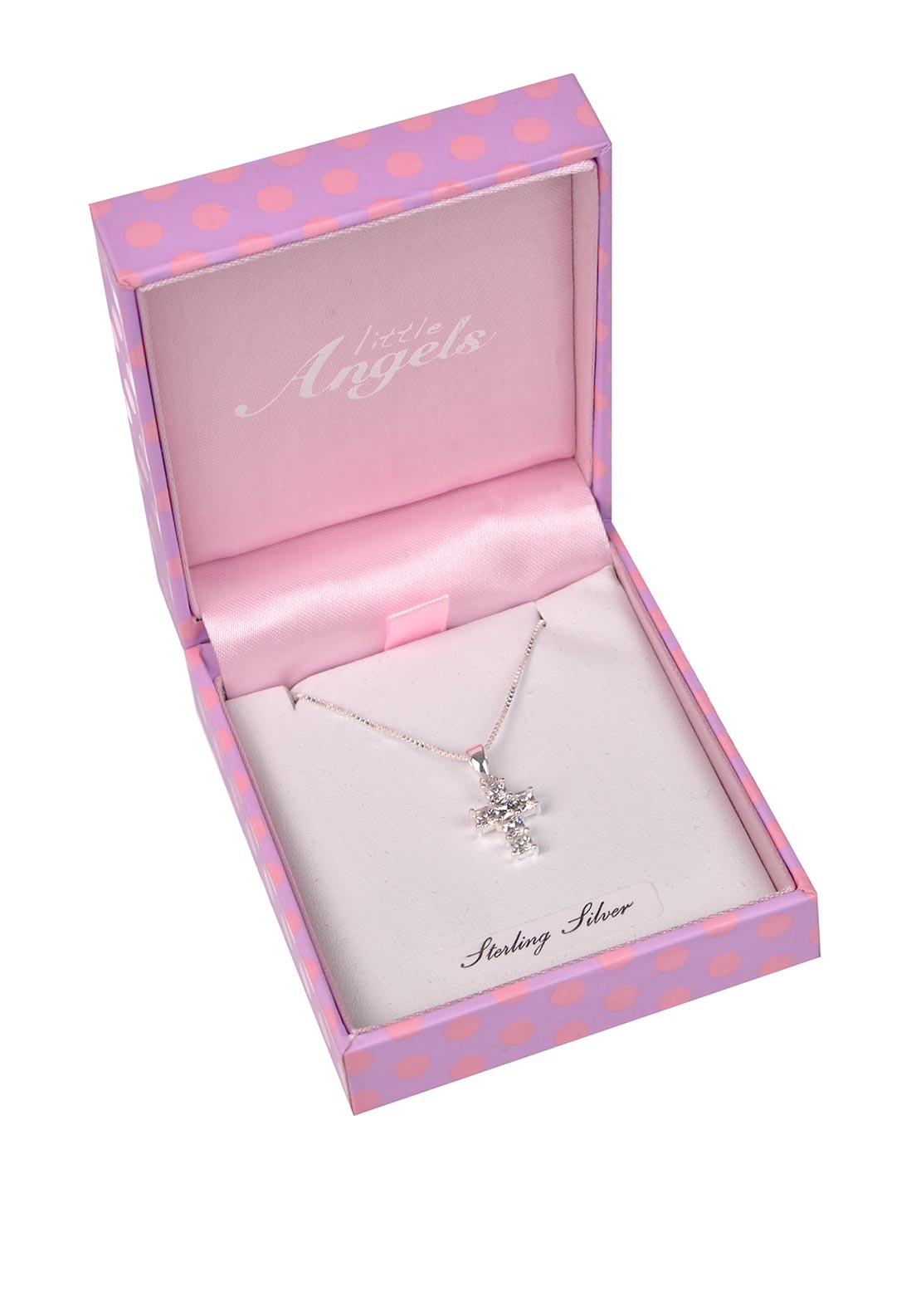 Little Angels First Holy Communion Crystal Cross Pendant and Necklace, Silver