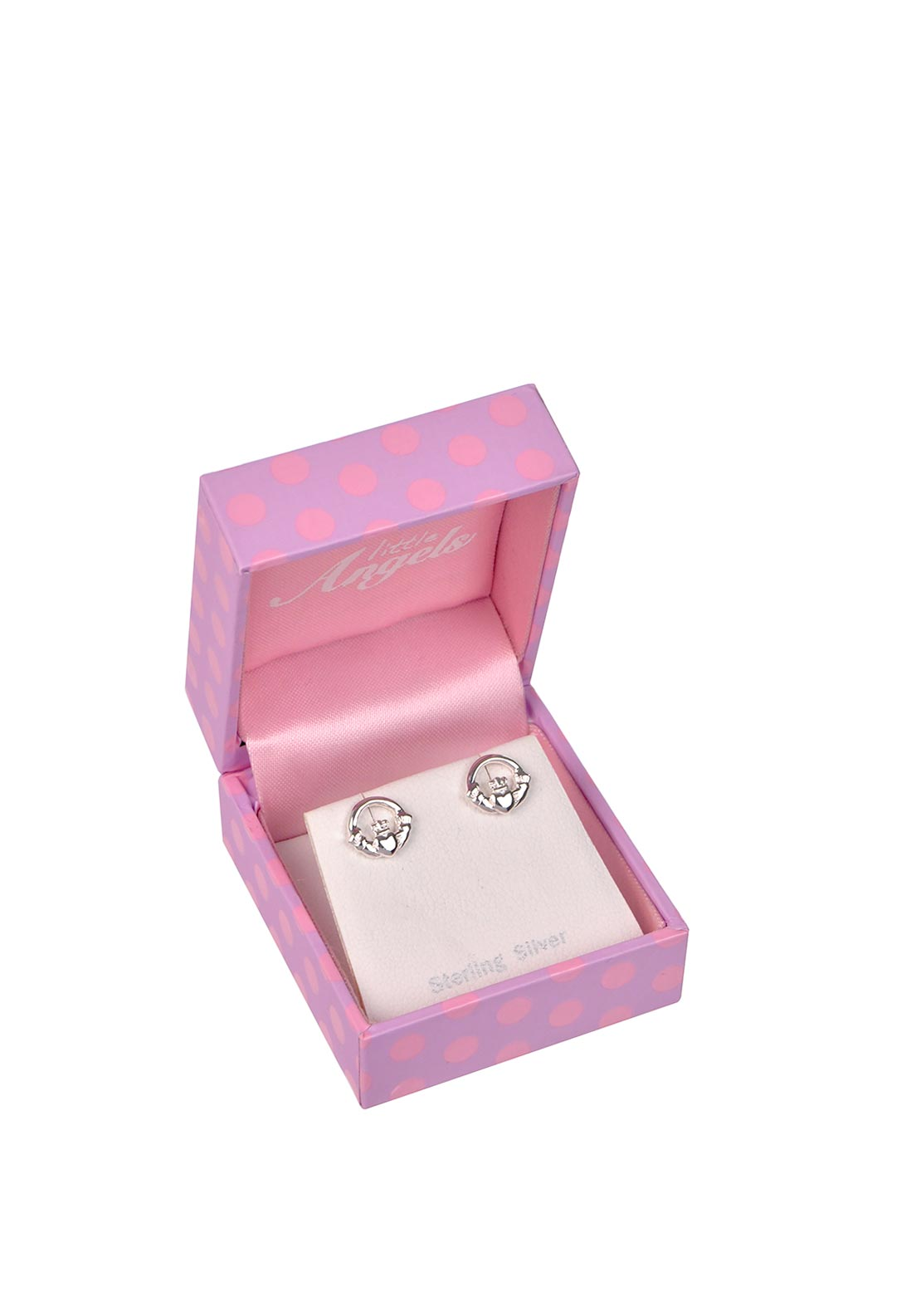 Little Angels First Holy Communion Claddagh Earrings, Silver