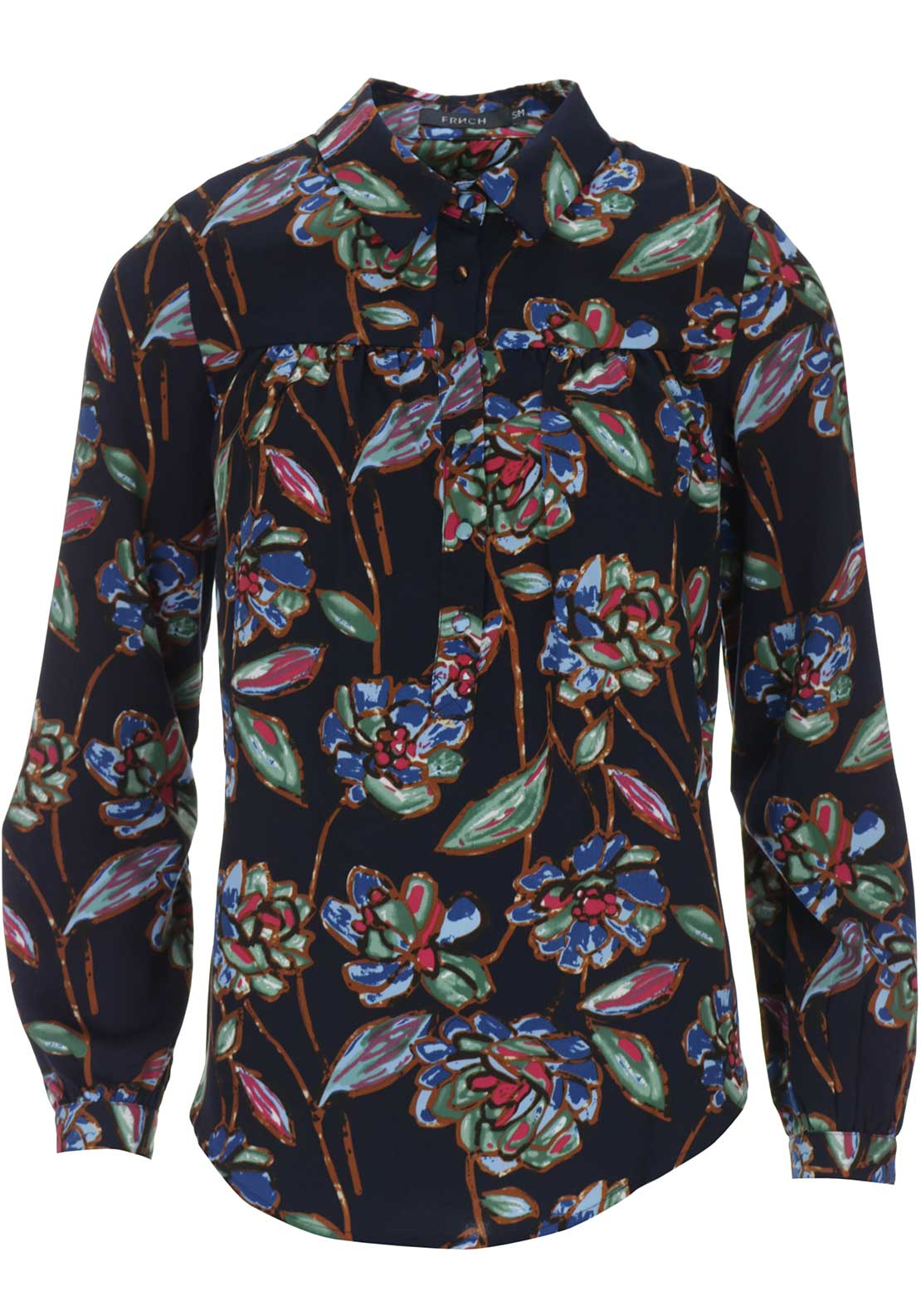 FRNCH Floral Print Blouse, Navy