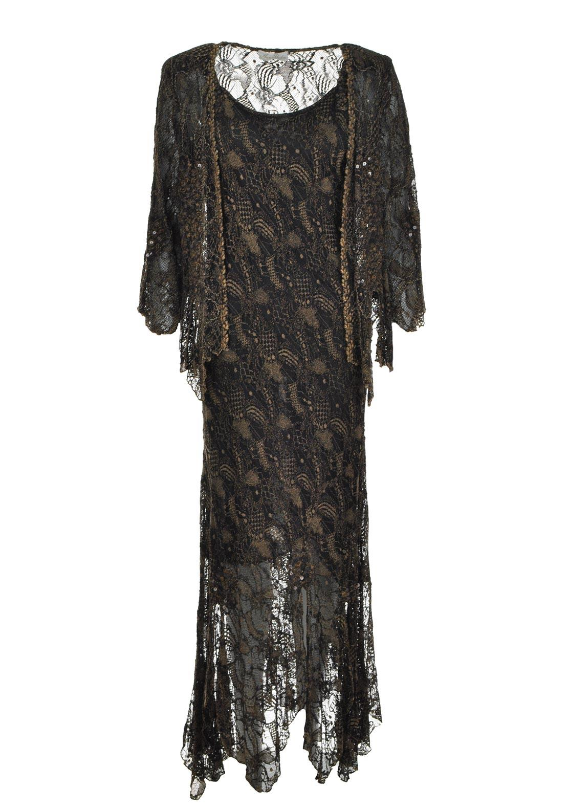 Ann Balon Lulu Lace Dress And Jacket Two Piece Outfit, Brown UK 12-14