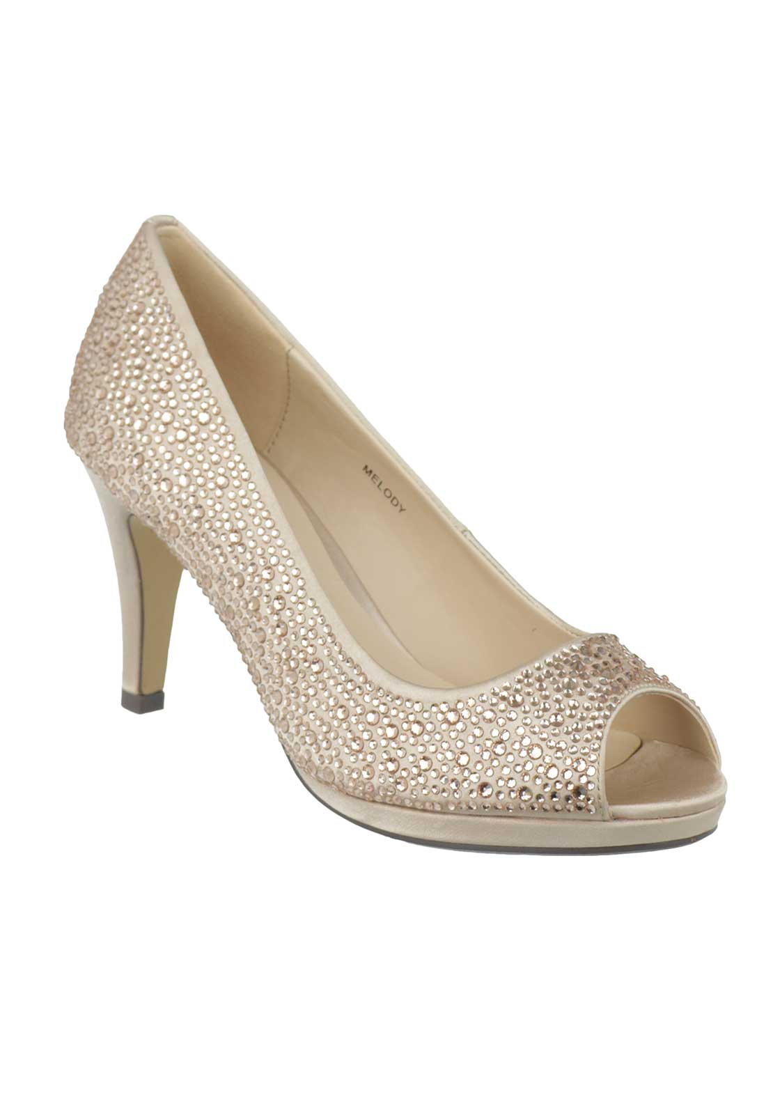 Lunar Elegance Melody Gem Heeled Shoes, Nude