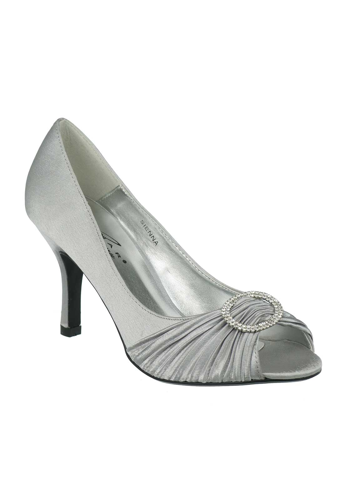 Lunar Elegance Sienna Ruched Heeled Shoes, Grey