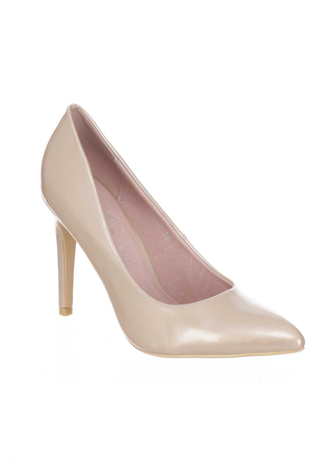 Lunar Patent Powell Heeled Court Shoes, Champagne