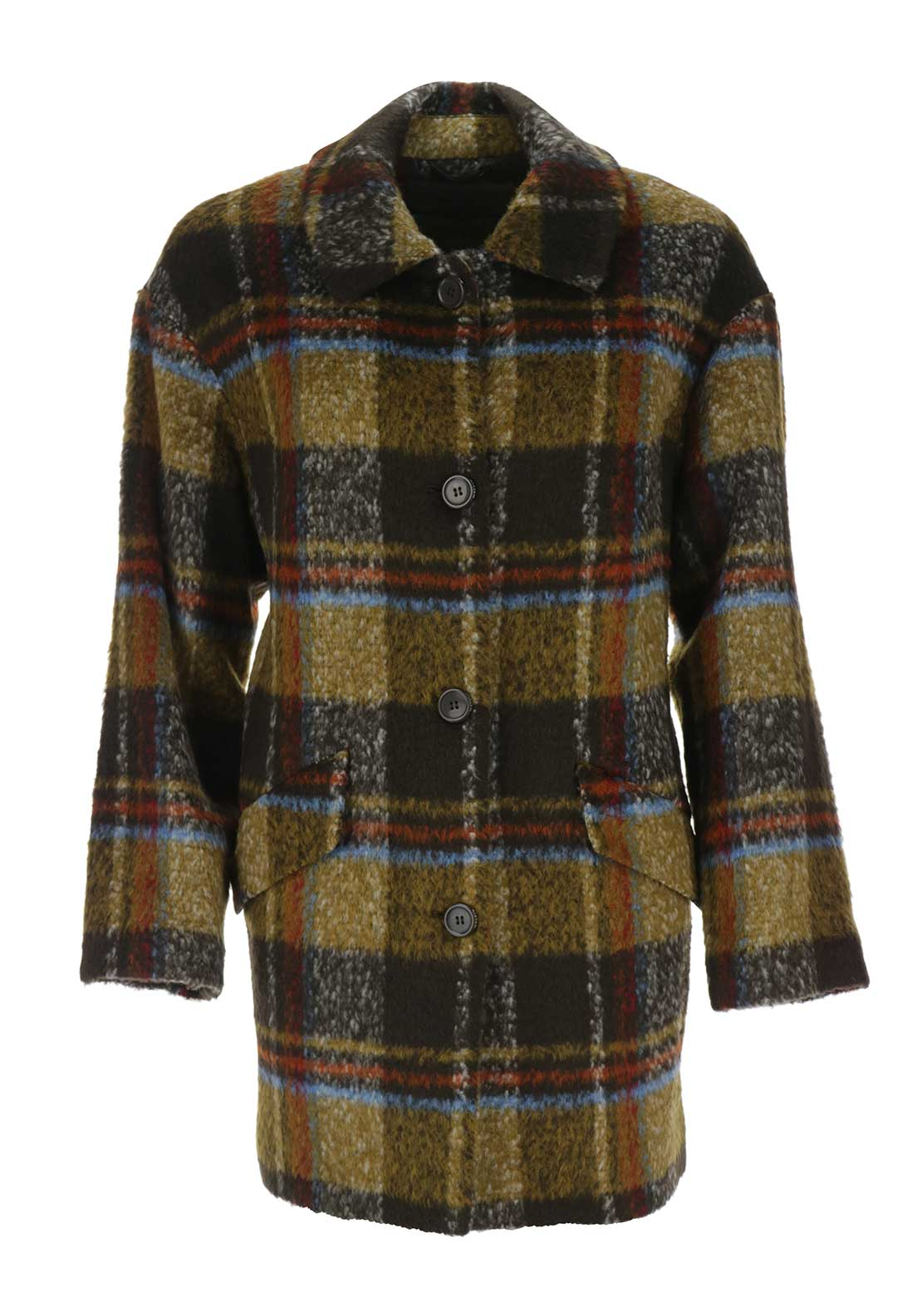Malvin Checked Wool Blend Cocoon Coat, Brown Multi
