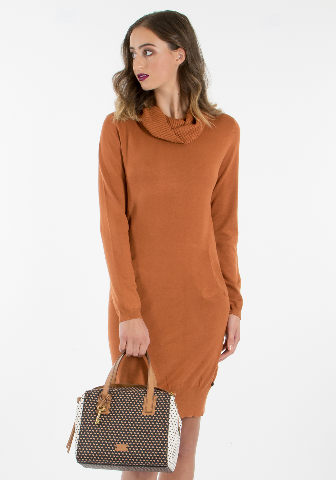 Malvin Roll Neck Jumper Dress, Rust