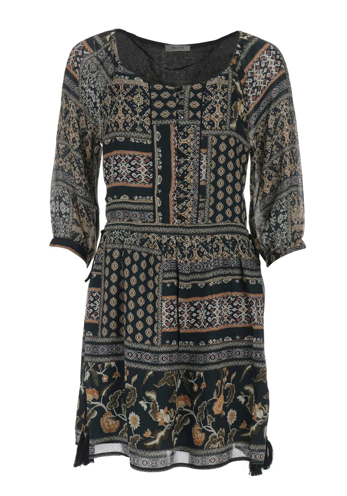 Malvin Printed Peasant Dress, Black Multi
