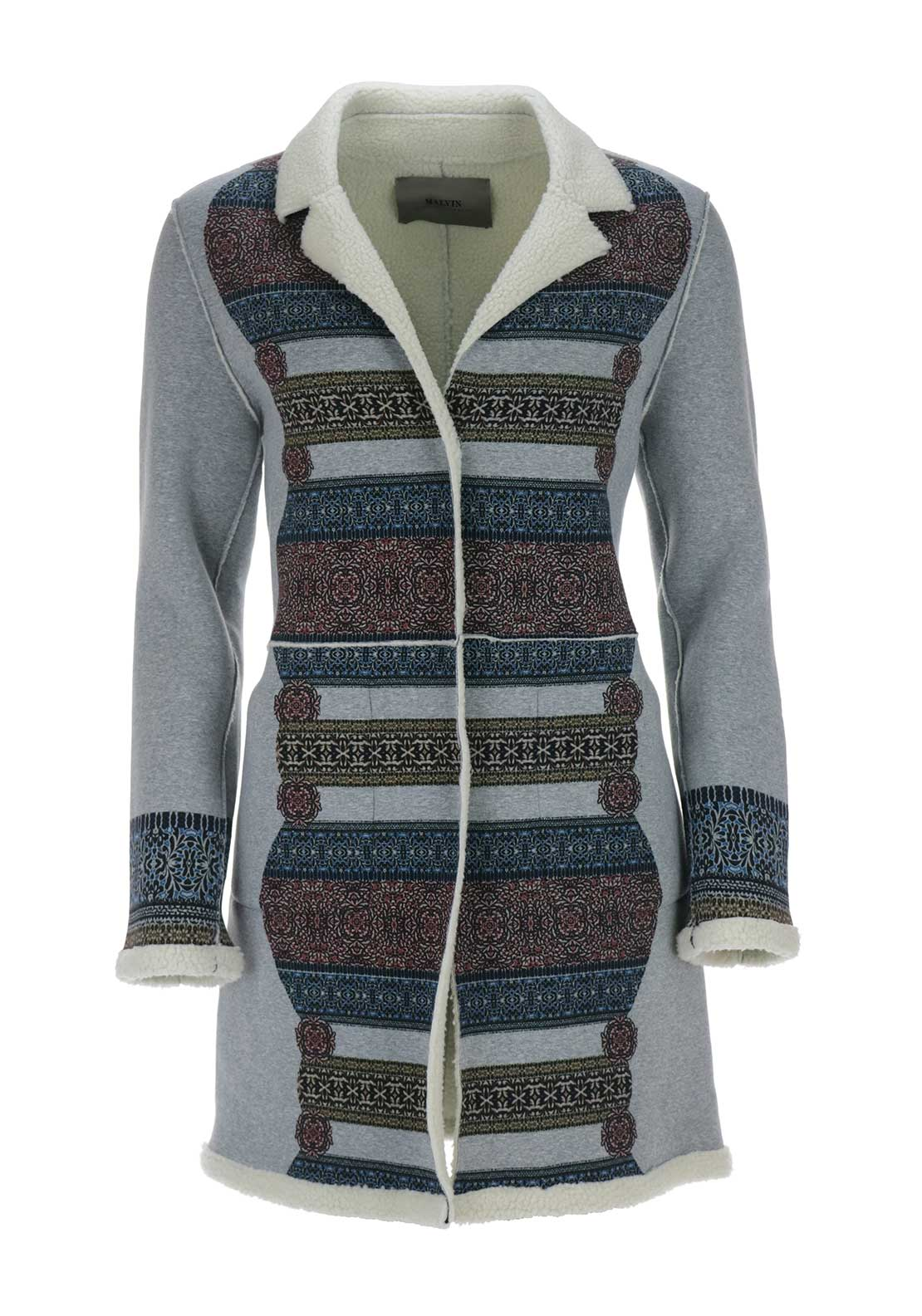 Malvin Reversible Ethnic Print Jersey Coat, Grey