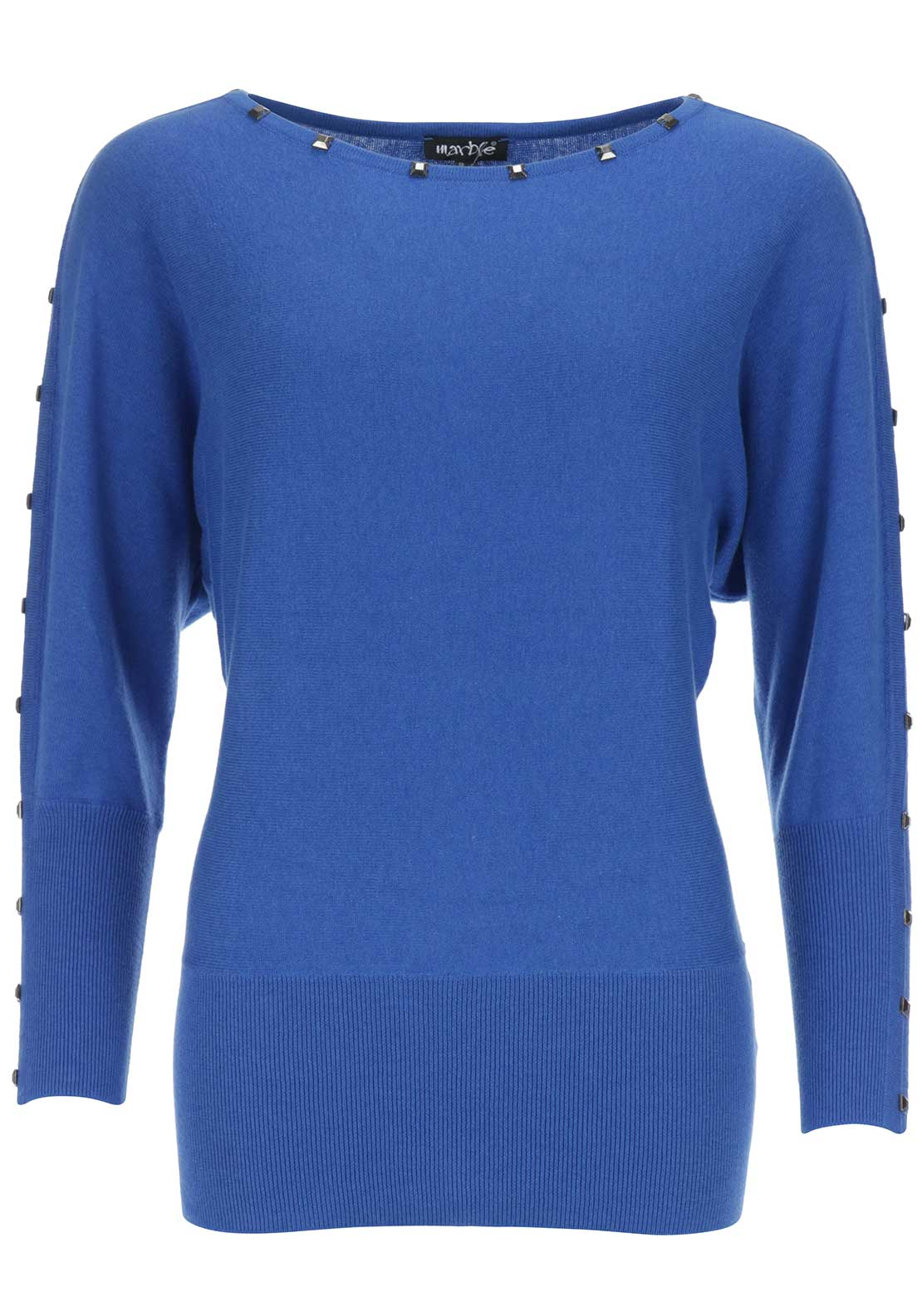 Marble Studded Cotton Fine Knit Sweater Jumper, Blue