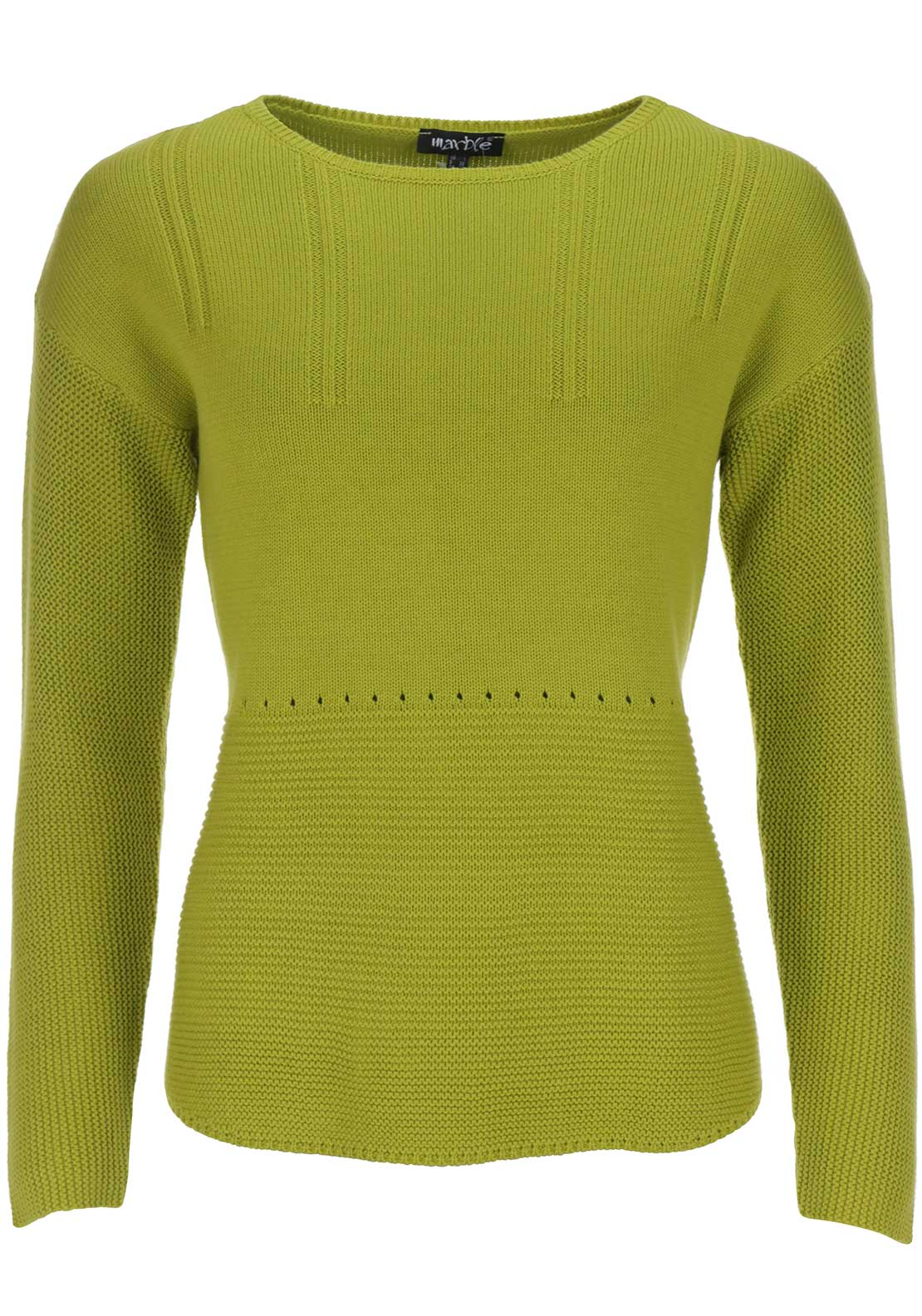 Marble Contrast Knit Cotton Blend Sweater Jumper, Lime Green
