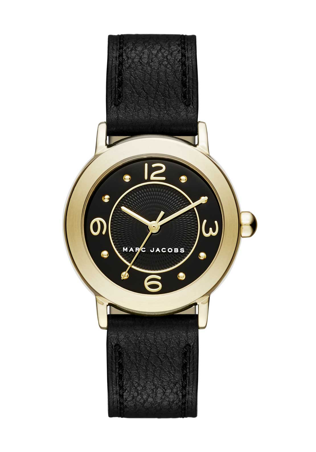 Marc Jacobs Womens Riley Slim Leather Strap Watch, Black