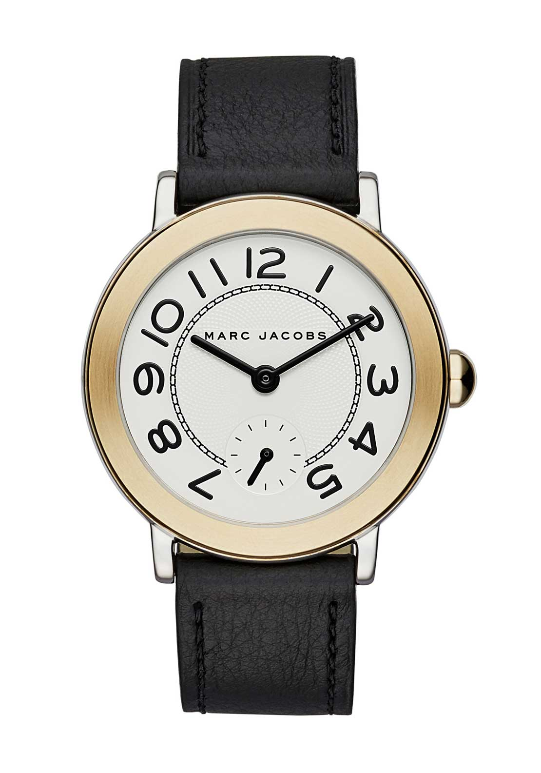 Marc Jacobs Womens Riley Leather Strap Watch, Black
