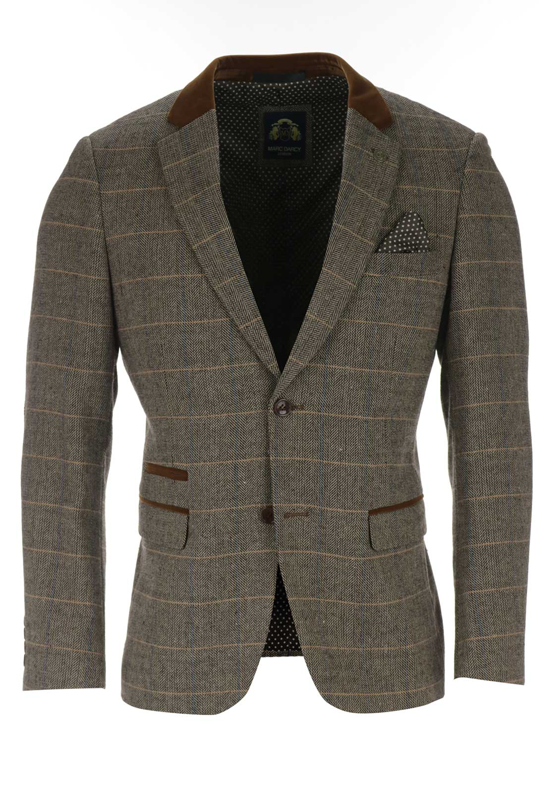 Marc Darcy Mens Herringbone Sports Jacket, Tan