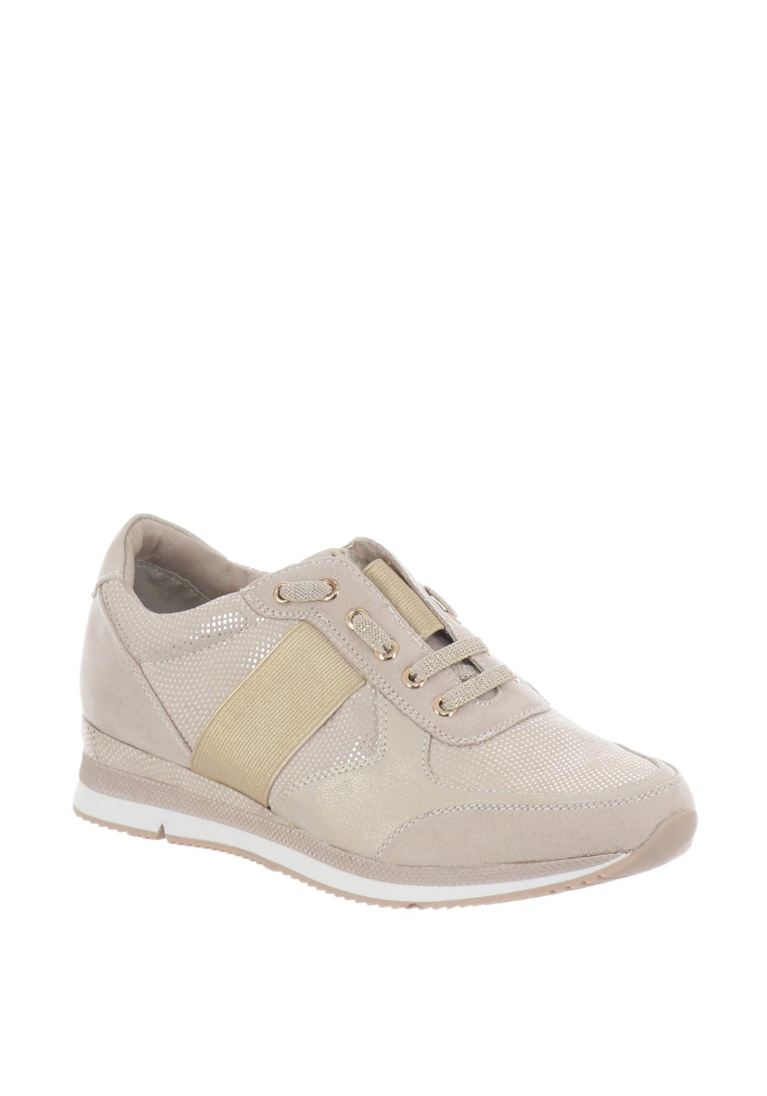 Marco Tozzi Shimmer Wedged Trainers, Nude