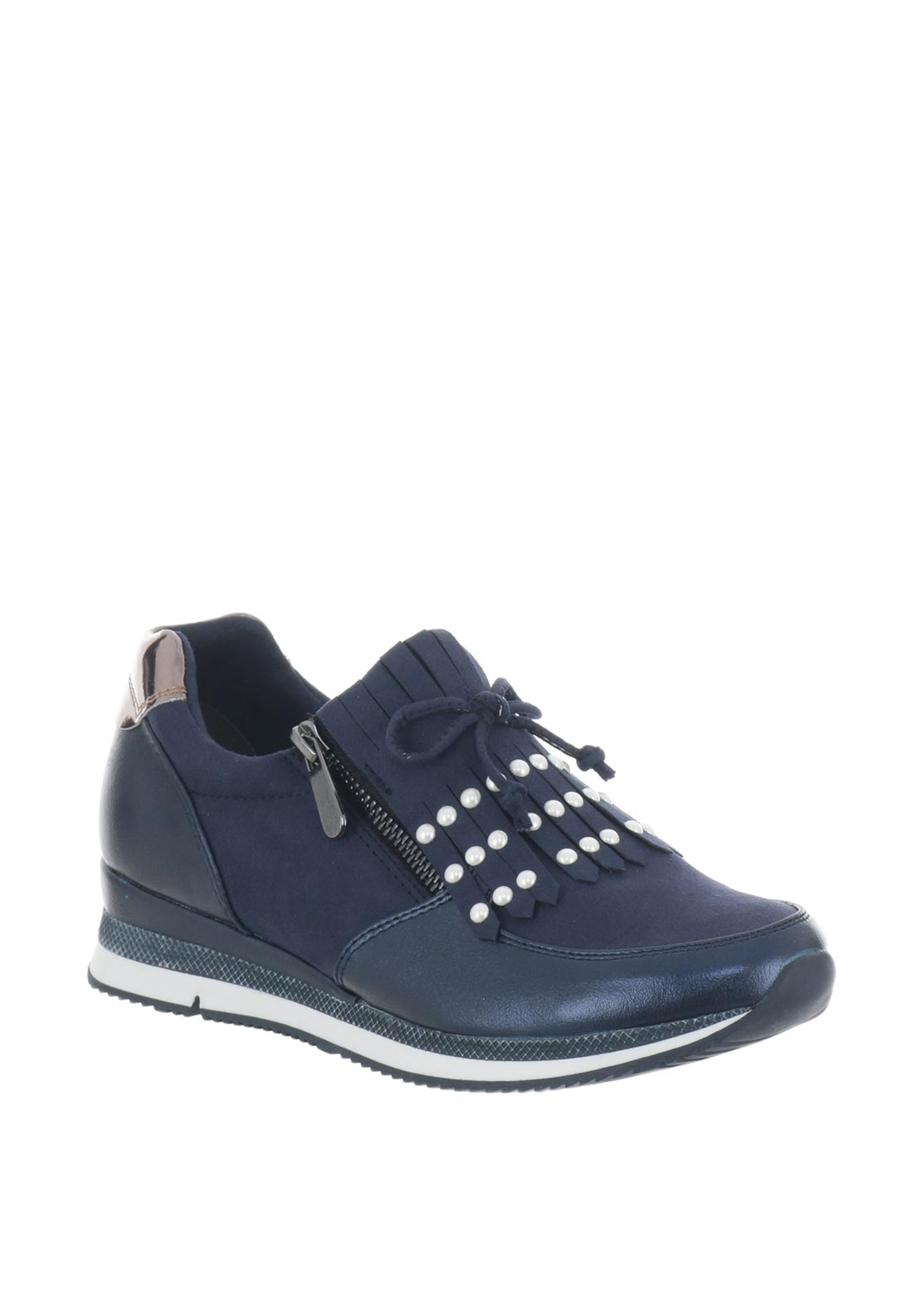 Marco Tozzi Pearl Fringed Trainers, Navy