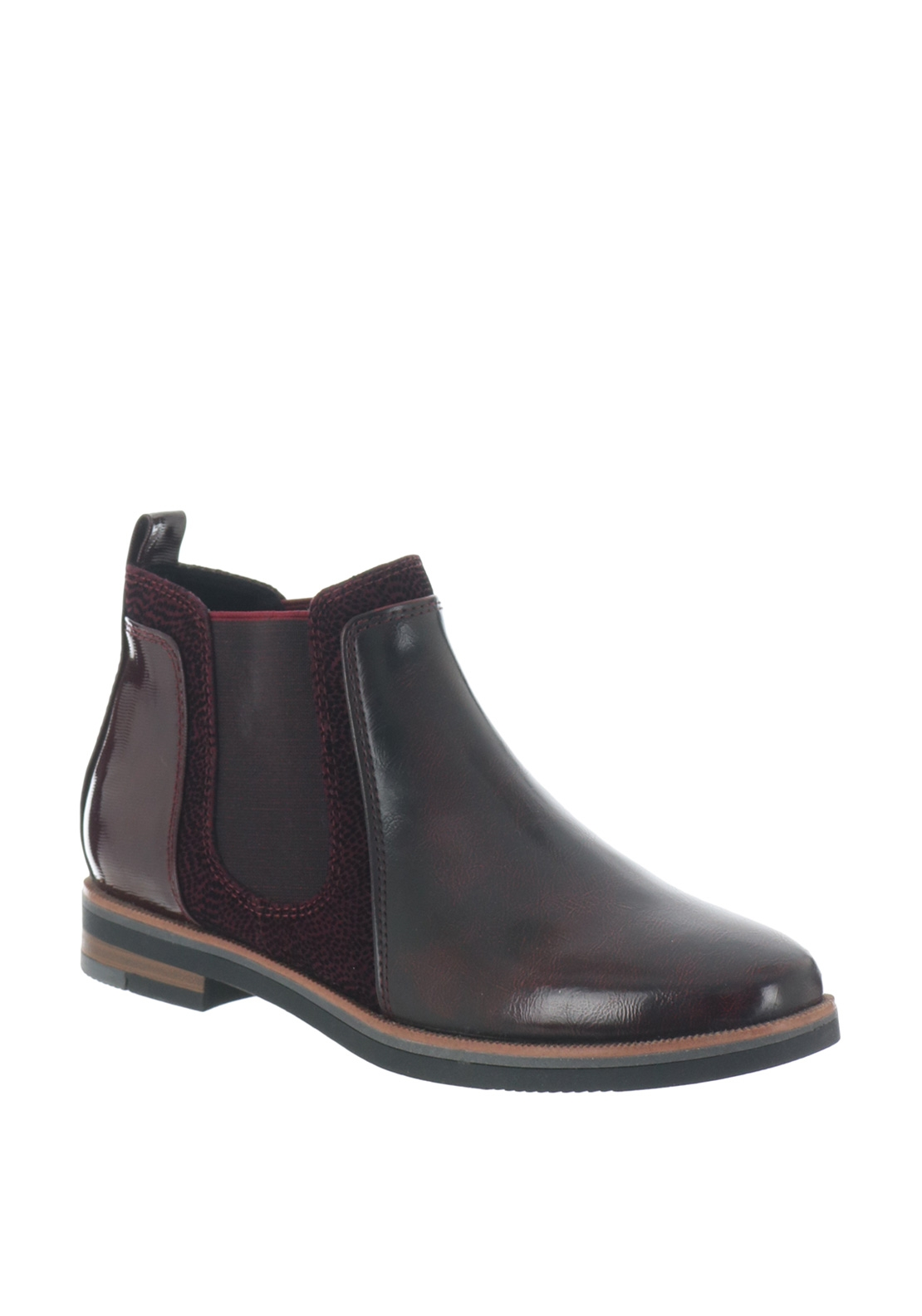 Marco Tozzi Faux Leather Patent Chelsea Boots, Bordeaux