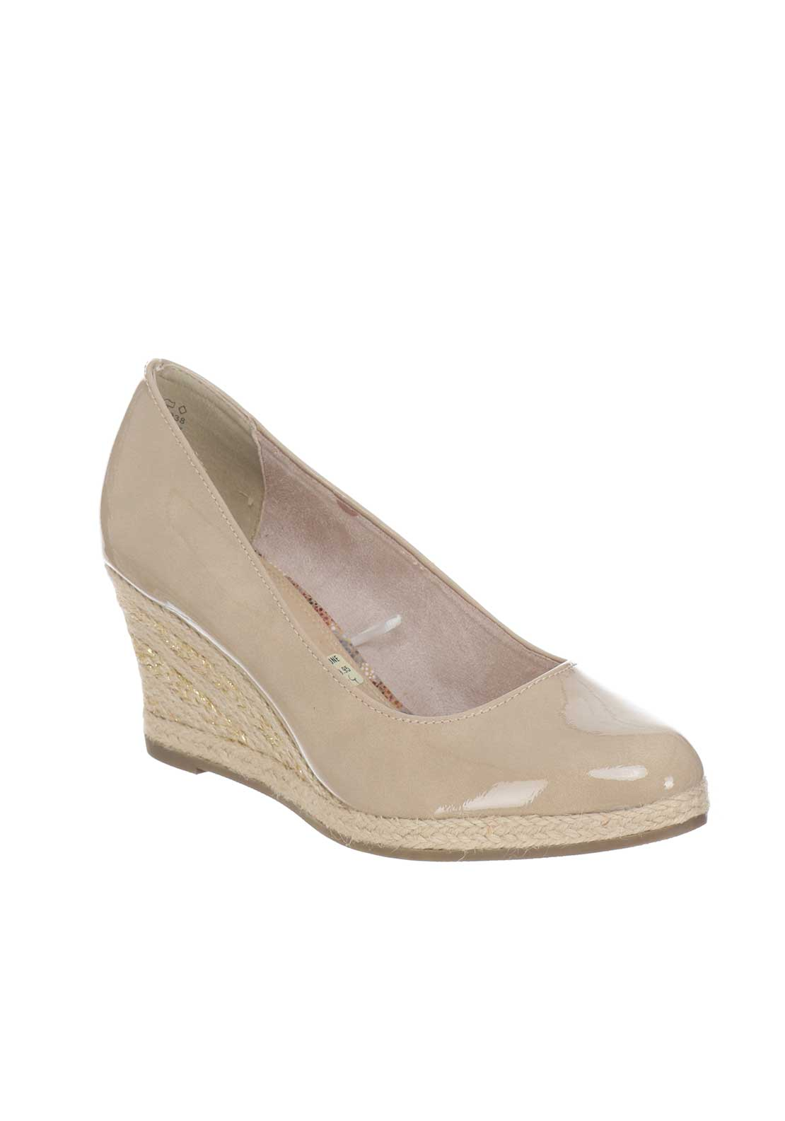 Marco Tozzi Perforated Peep Toe Wedged Shoes, Nude