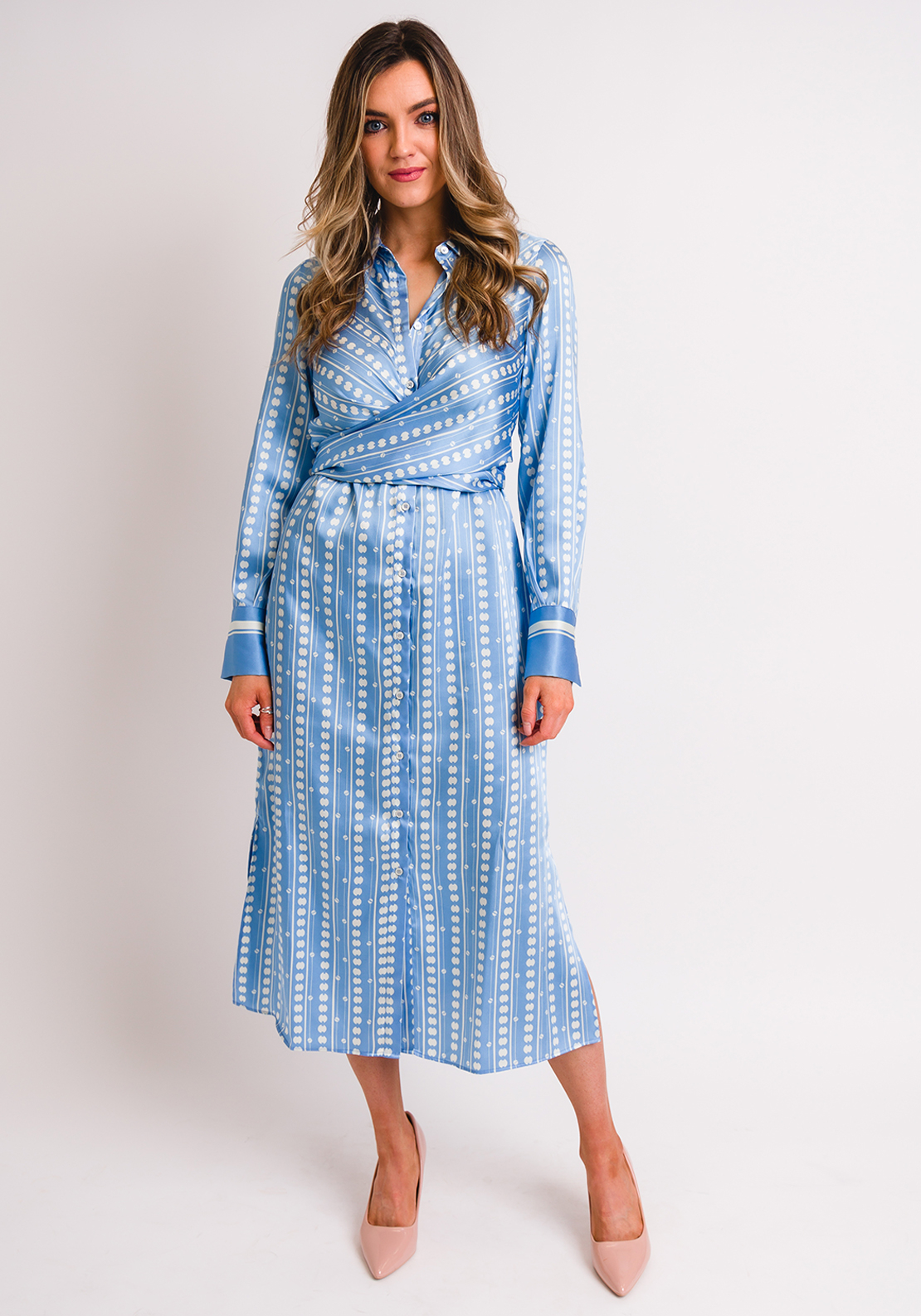 Marella Pineta Printed Tie Waist Midi Dress, Pale Blue