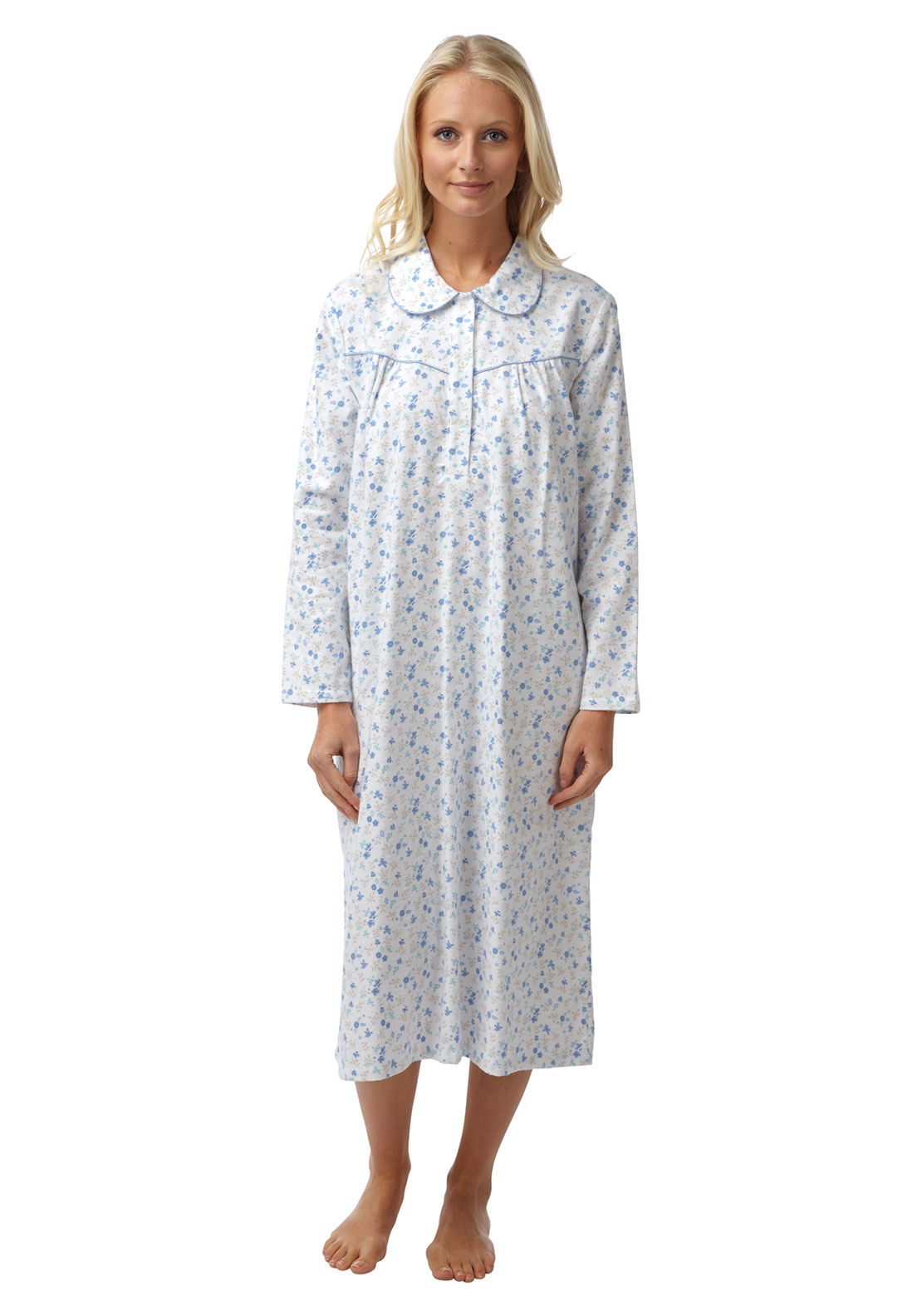 Marlon Floral Print Nightdress, Blue Multi