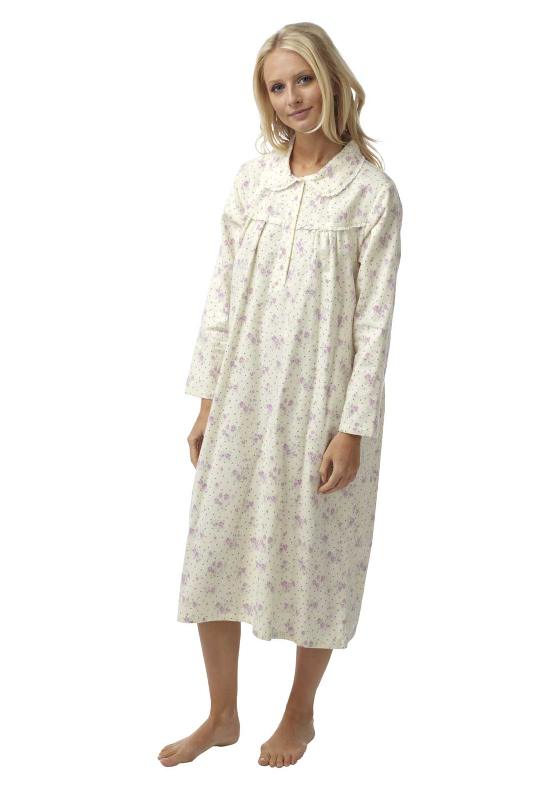 Marlon Floral Print Brushed Cotton Nightdress, Cream